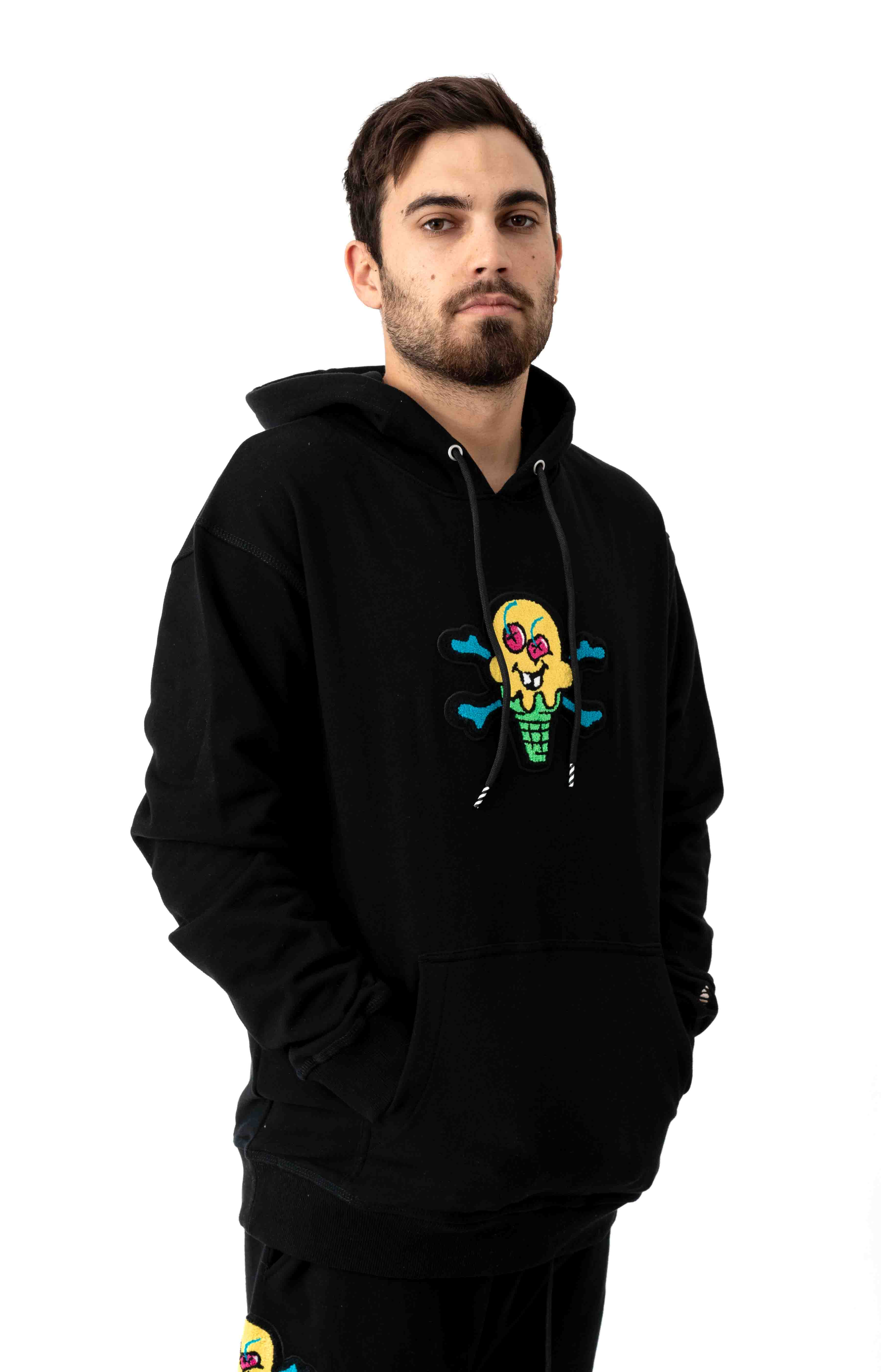 Chenille Pullover Hoodie - Black 2