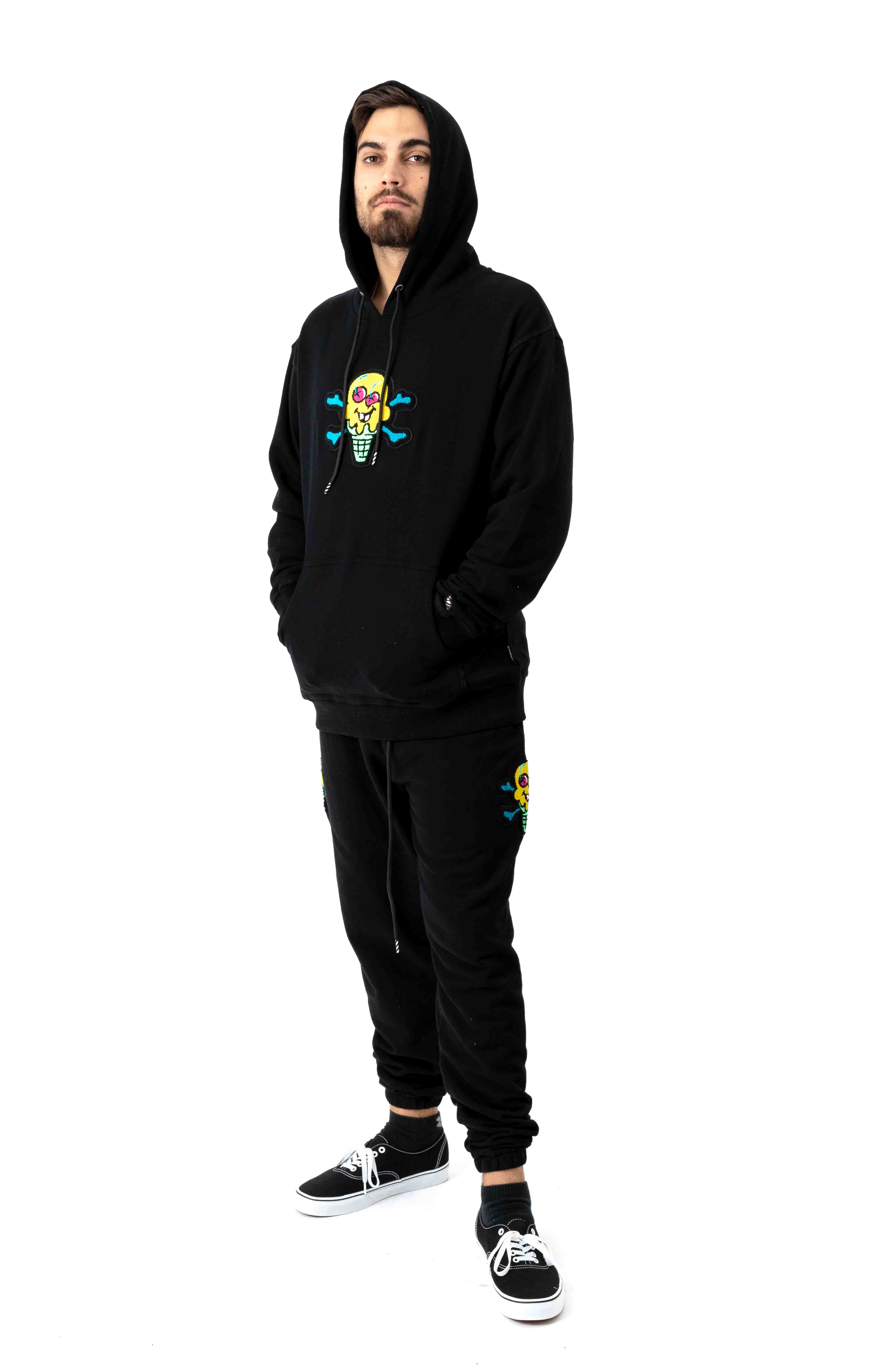 Chenille Pullover Hoodie - Black 4