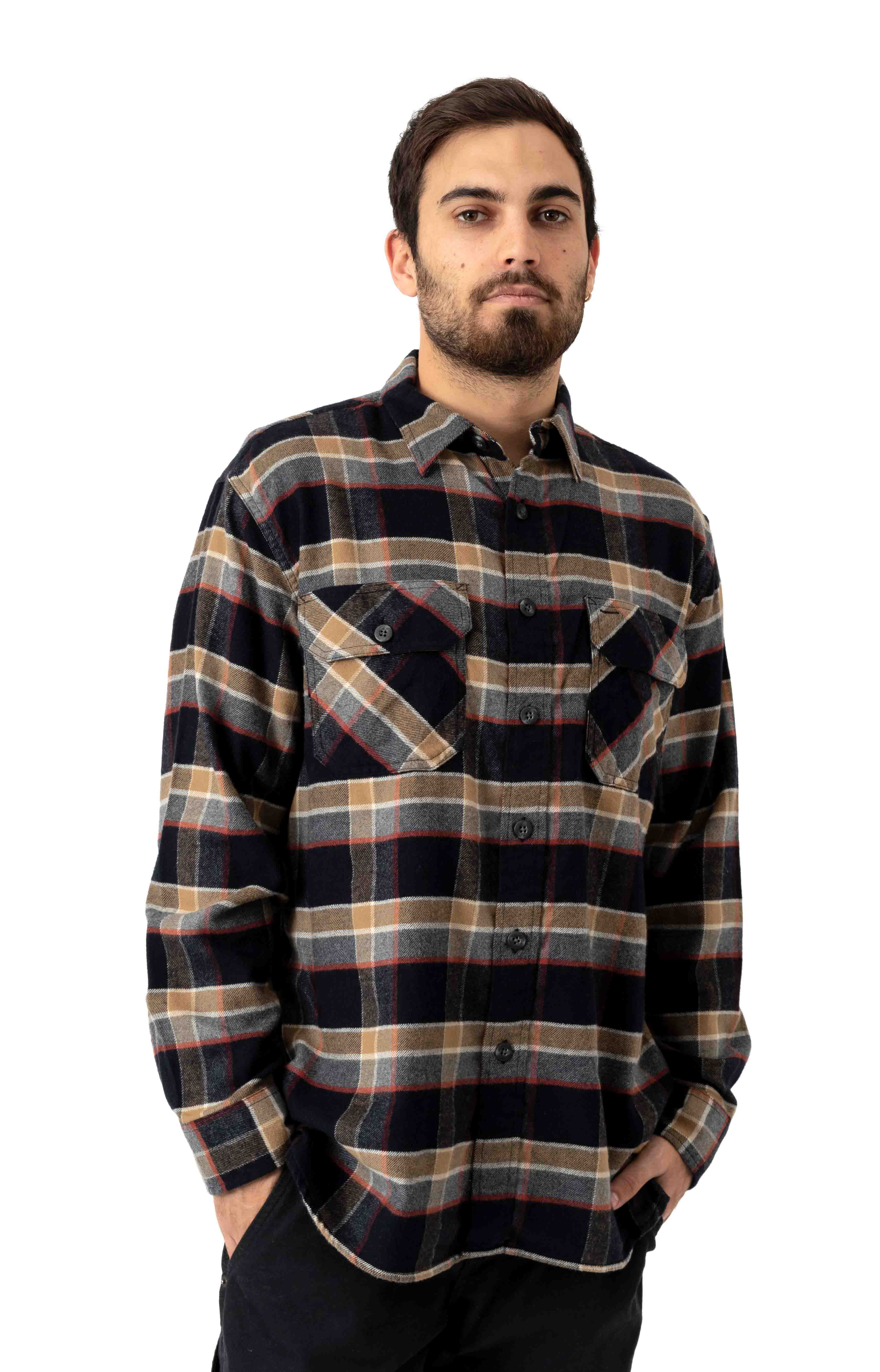 Burnside Flannel Button-Up Shirt - Black/Grey