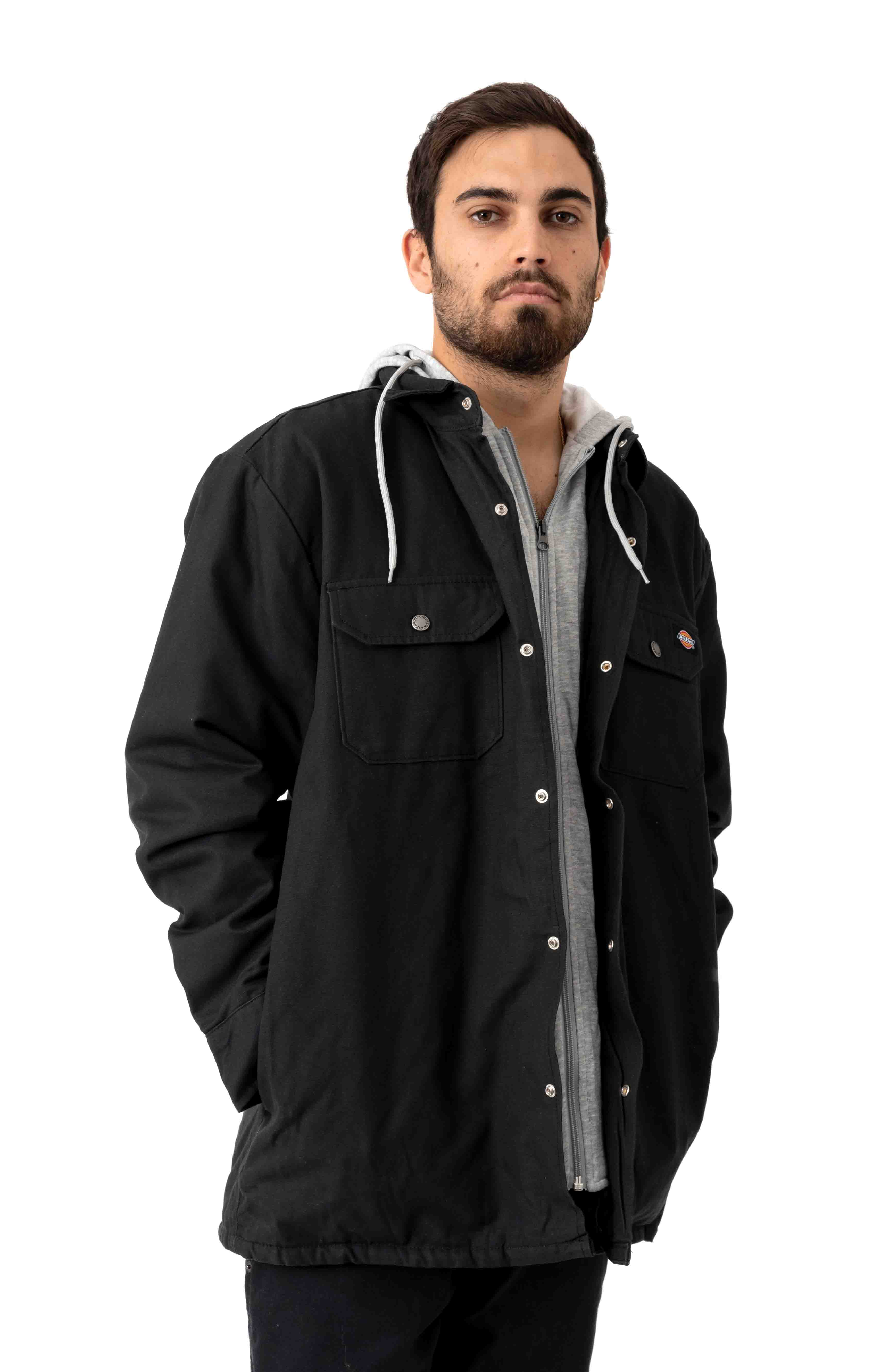 (TJ203BK) Relaxed Fit Icon Hooded Duck Quilted Shirt Jacket - Black 2