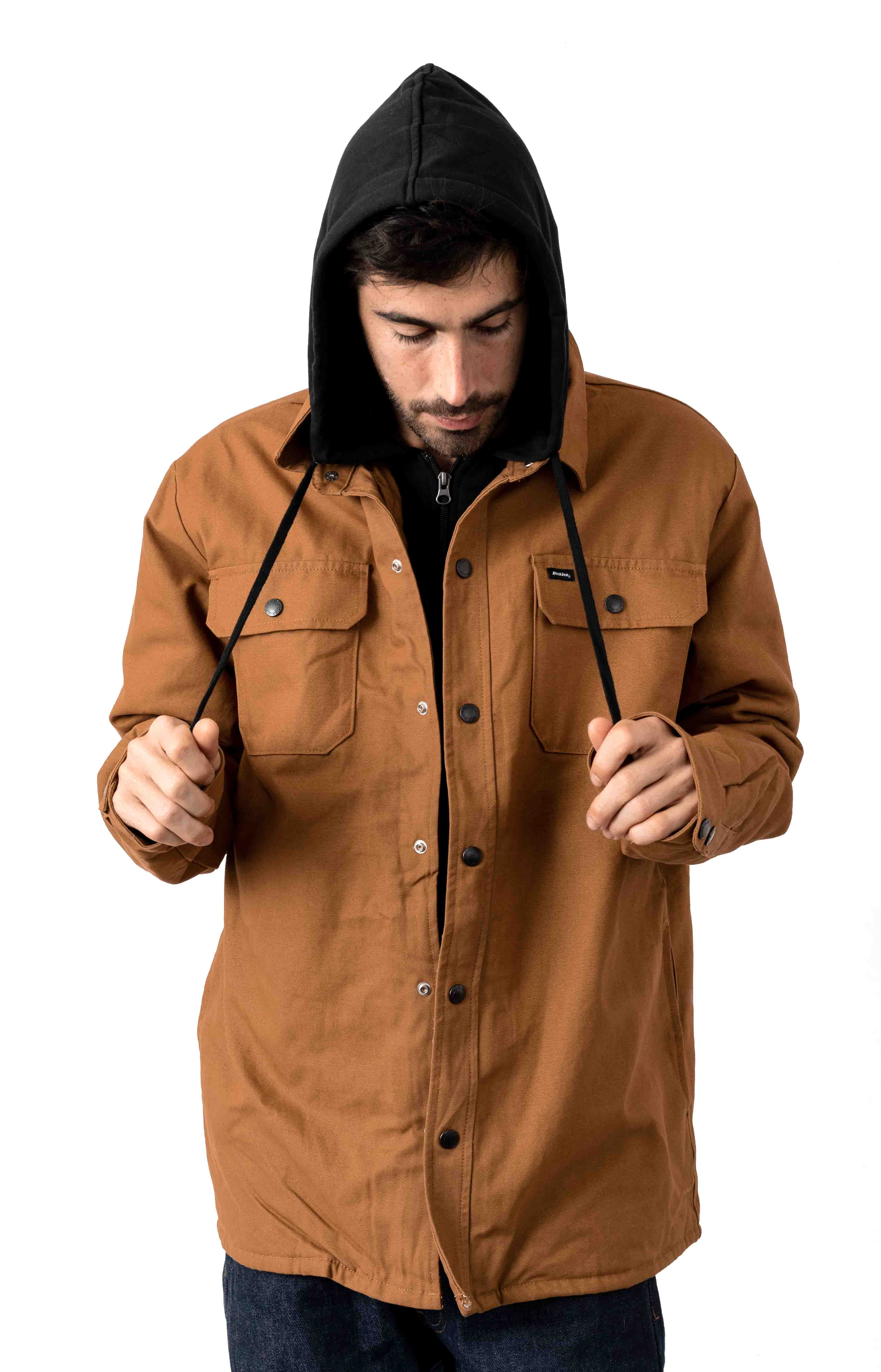 (TJ500BD) Duck Shirt Jacket w/ Fleece Hood - Brown Duck
