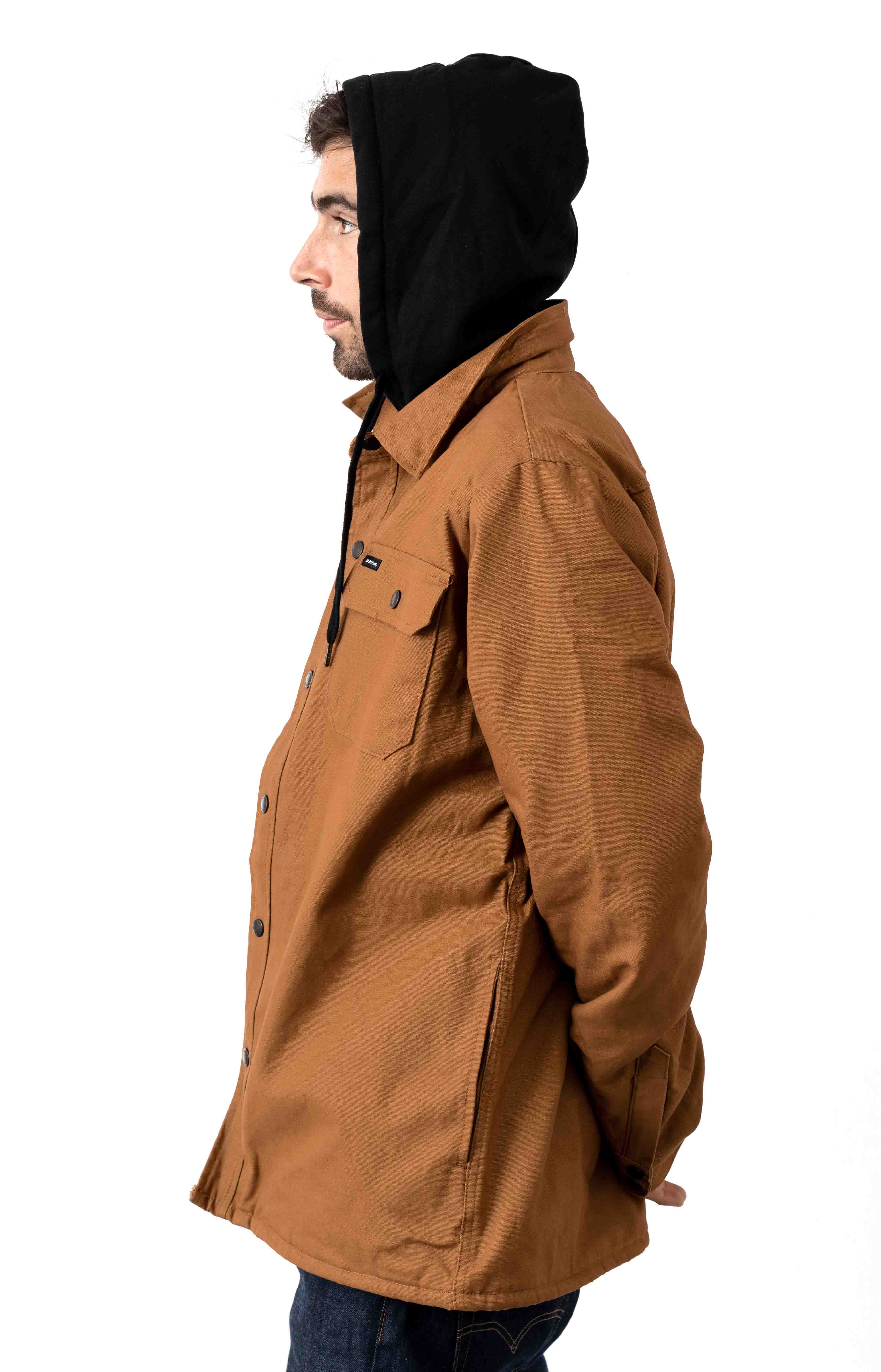 (TJ500BD) Duck Shirt Jacket w/ Fleece Hood - Brown Duck 2