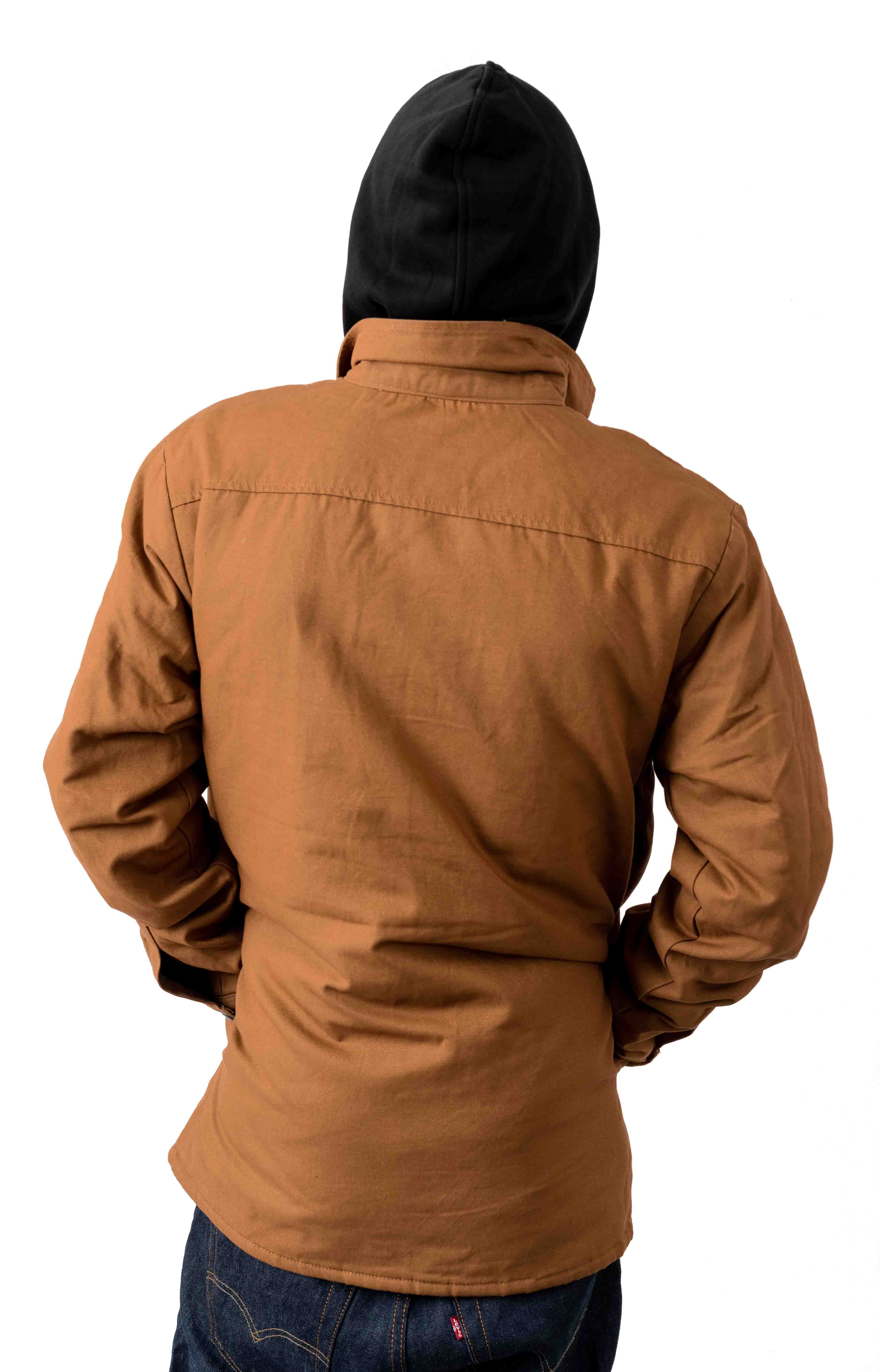 (TJ500BD) Duck Shirt Jacket w/ Fleece Hood - Brown Duck 3