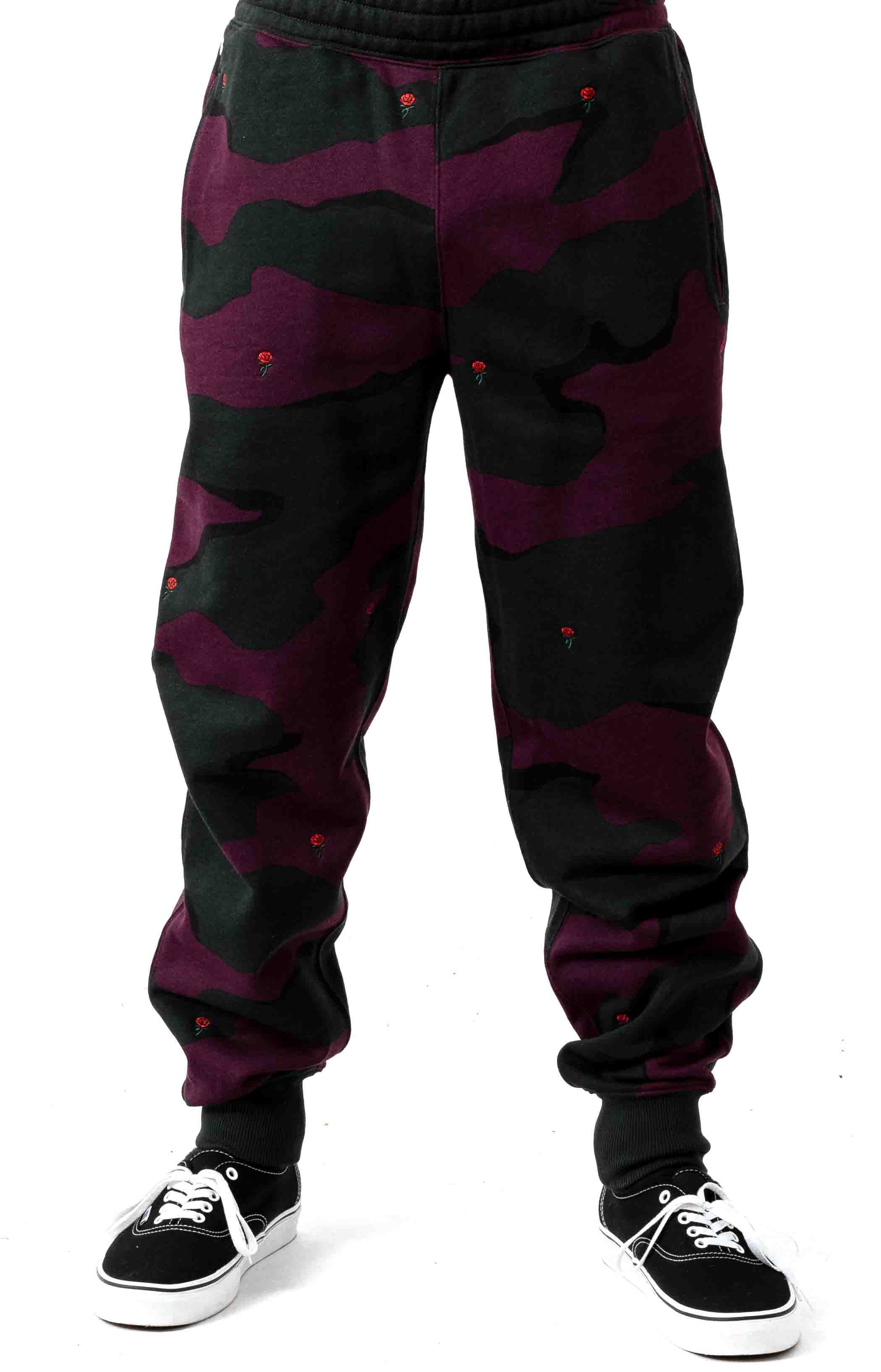 Live Rose Embroidered Camo Sweatpant - Green/White  2