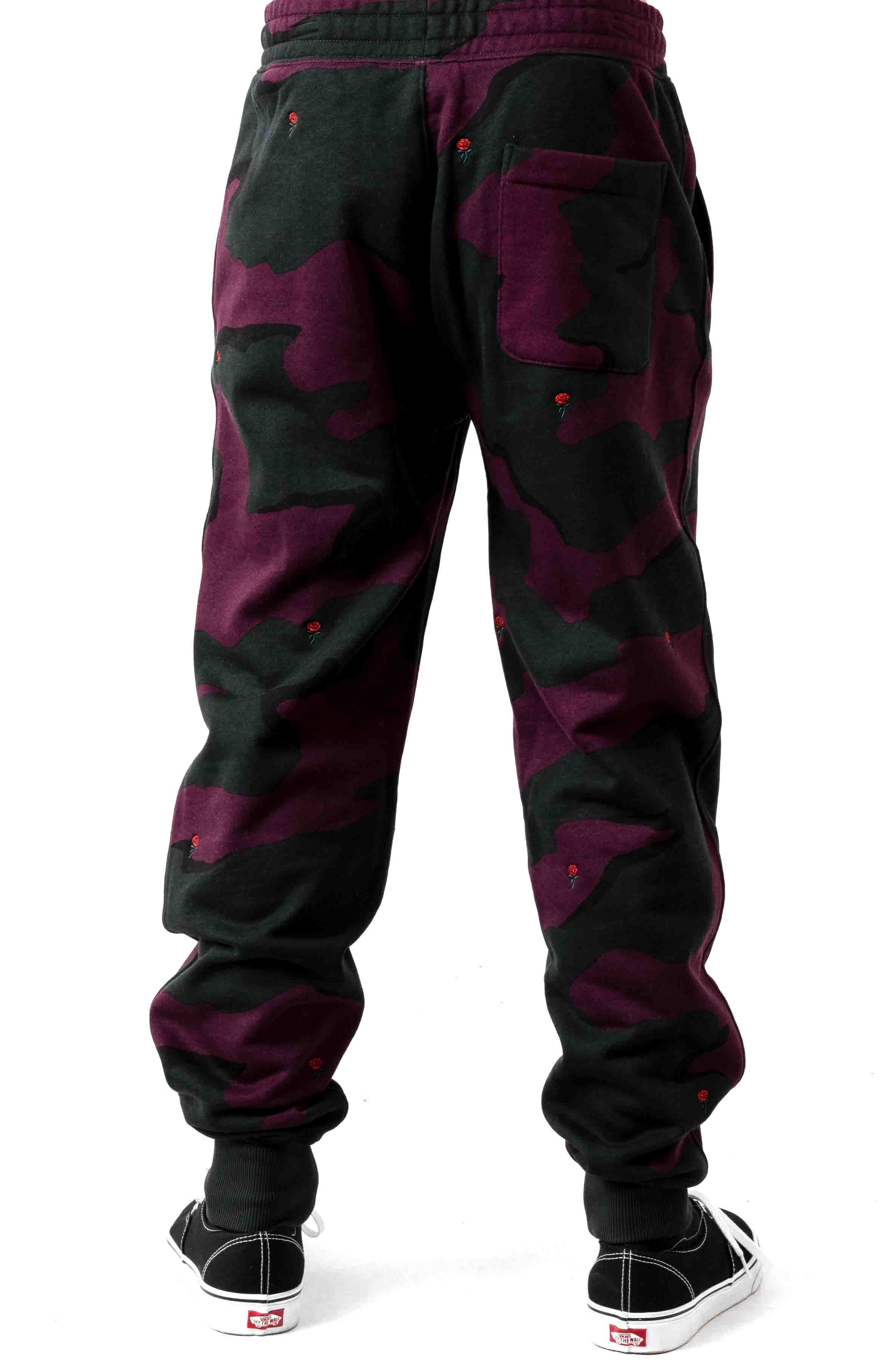Live Rose Embroidered Camo Sweatpant - Green/White  3