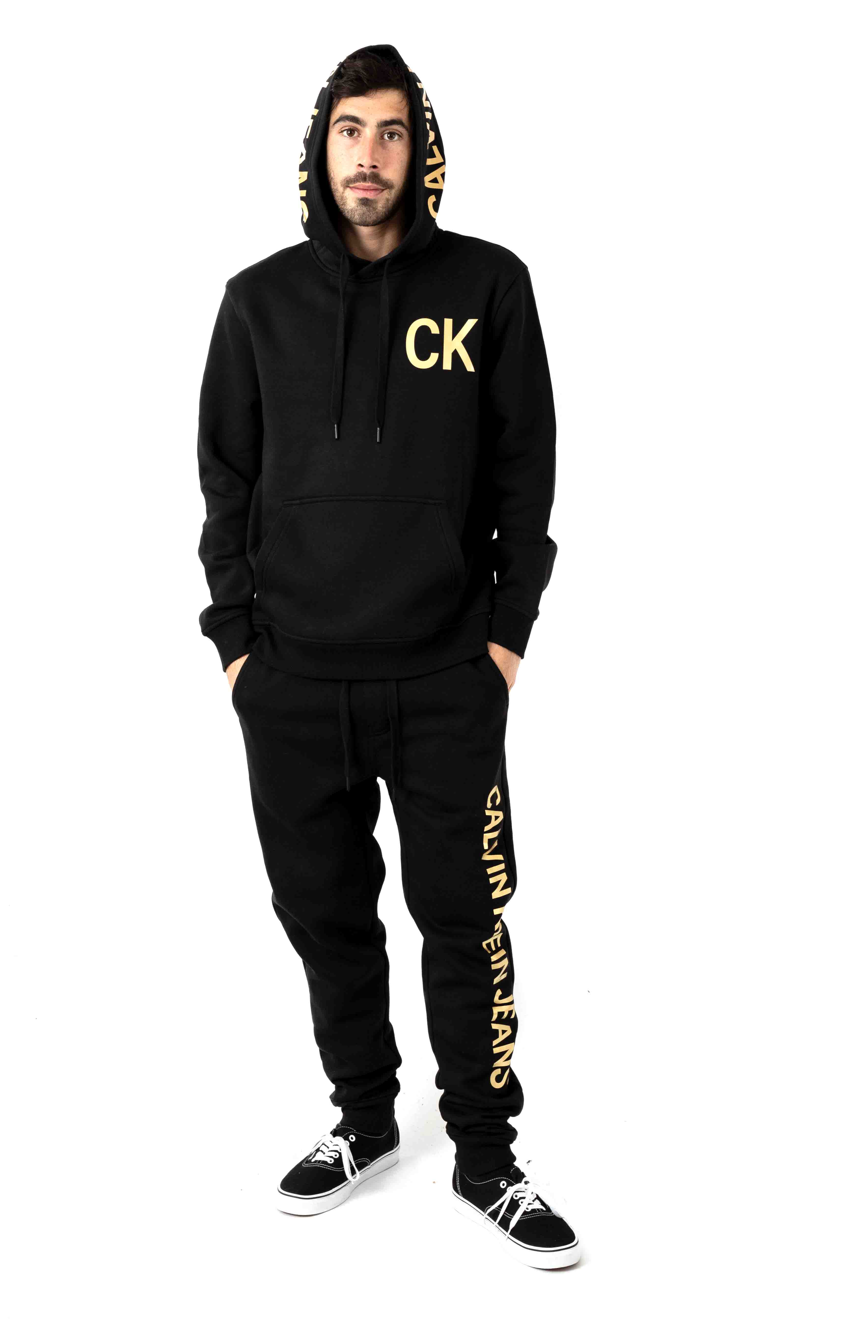 Regular Fit Iconic Logo Graphic Pullover Hoodie - Black 4