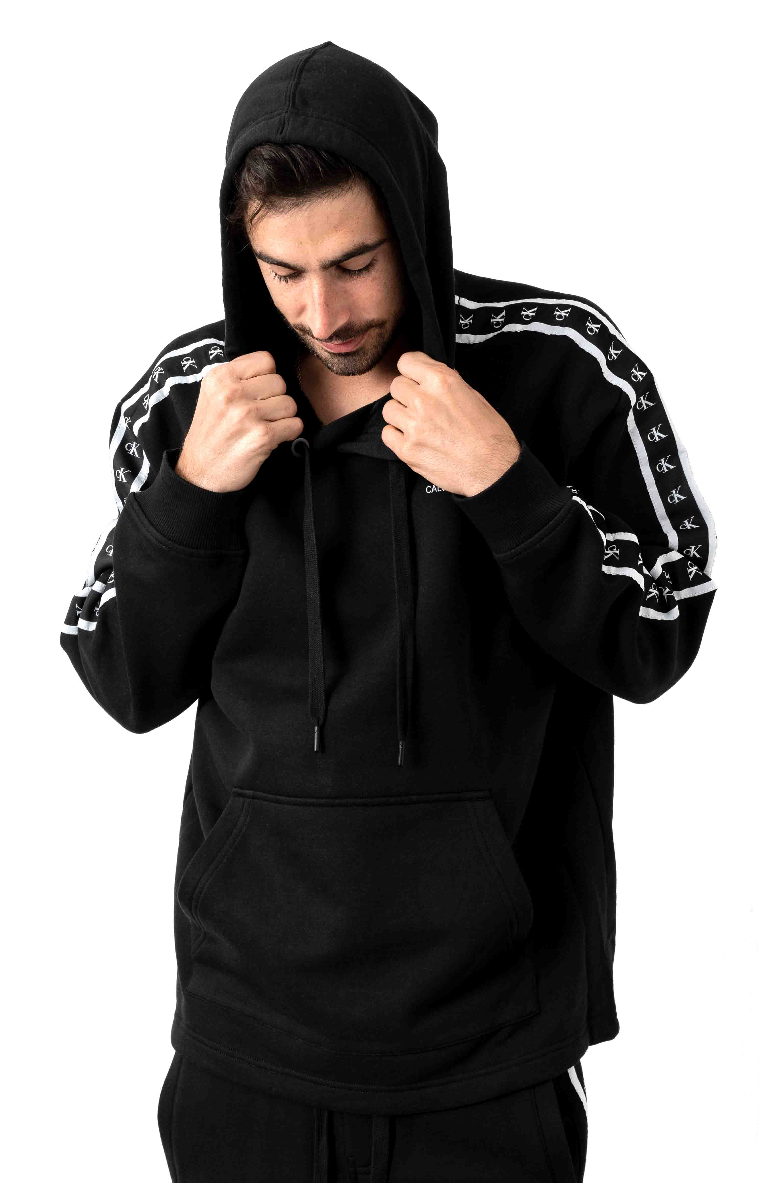 Boxy Fit Monogram Logo Tape Pullover Hoodie - Black