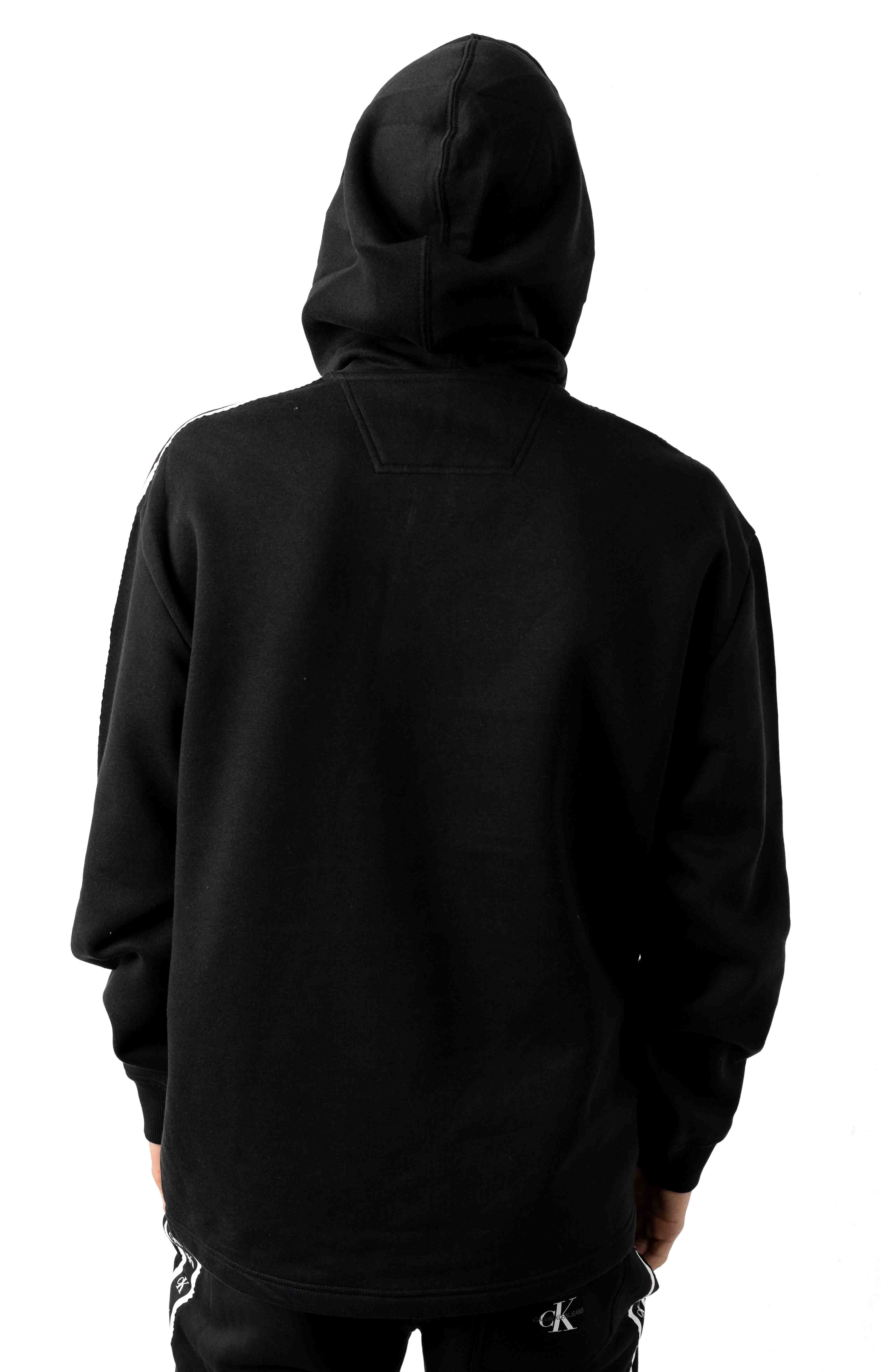Boxy Fit Monogram Logo Tape Pullover Hoodie - Black  3