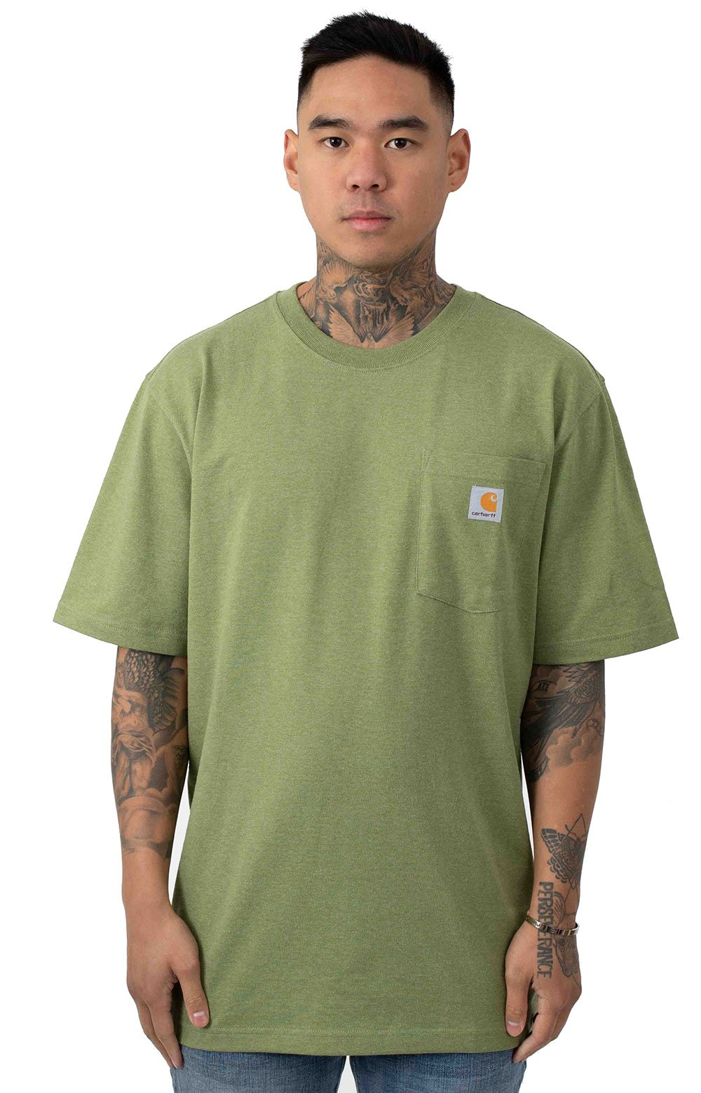 Carhartt, (103559) Workwear C Logo Graphic Pocket T-Shirt - Oil Green Heather