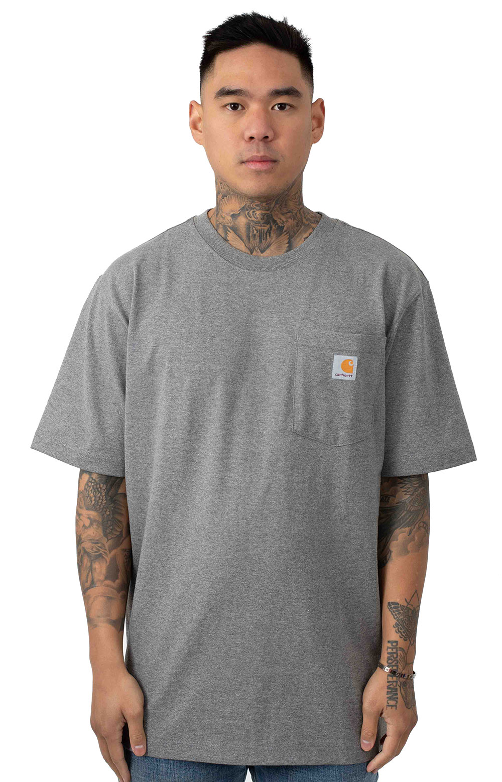 (103559) Workwear C Logo Graphic Pocket T-Shirt - Granite Heather