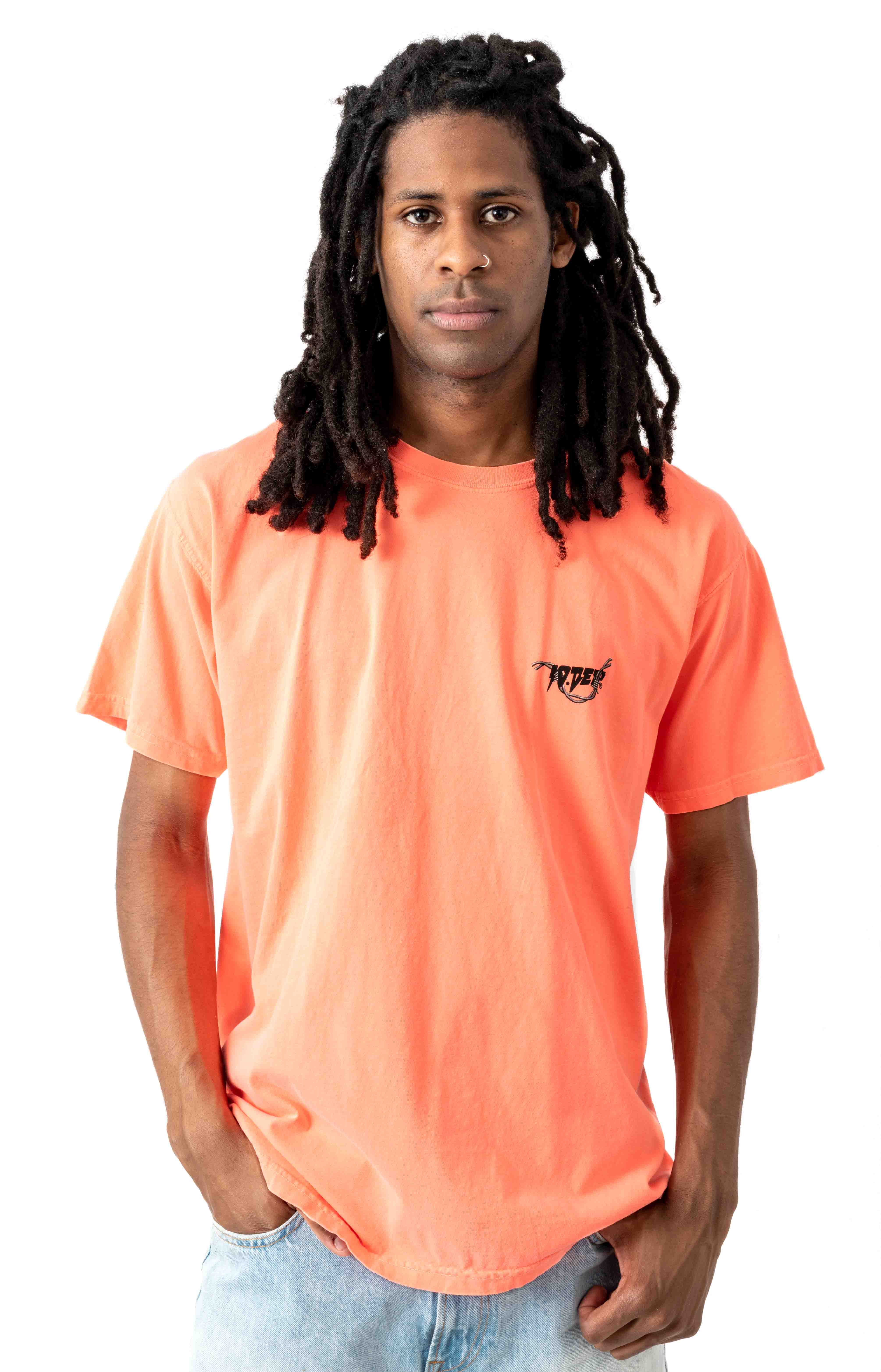 Barbed Wire T-Shirt - Neon Coral