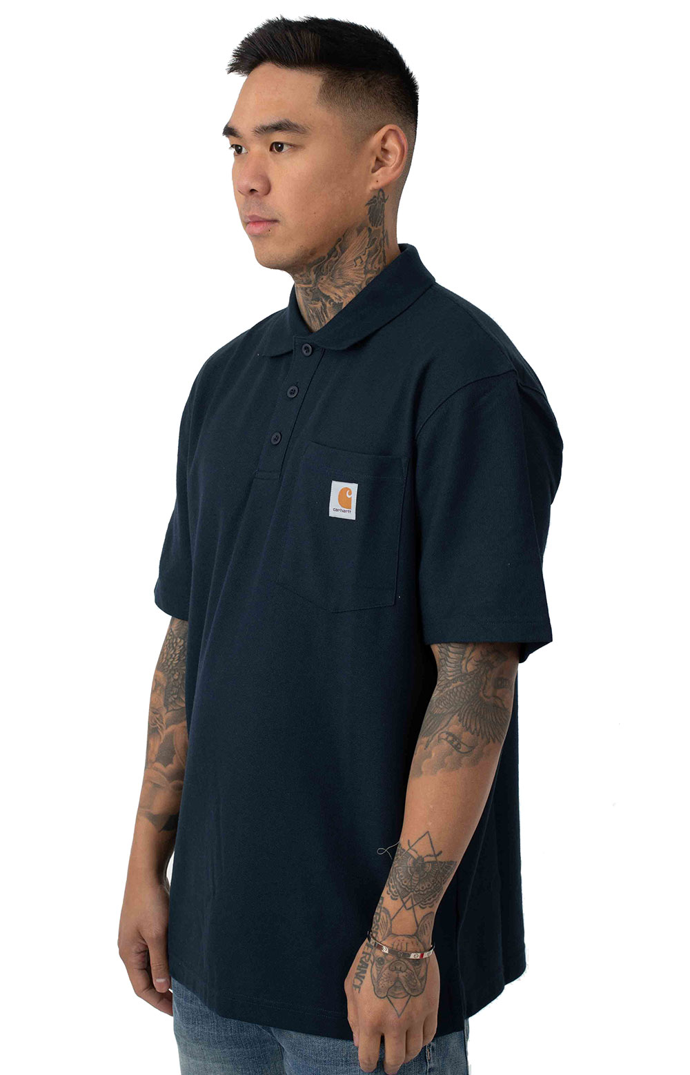 (K570) Contractor's Work Pocket Polo - Navy 2