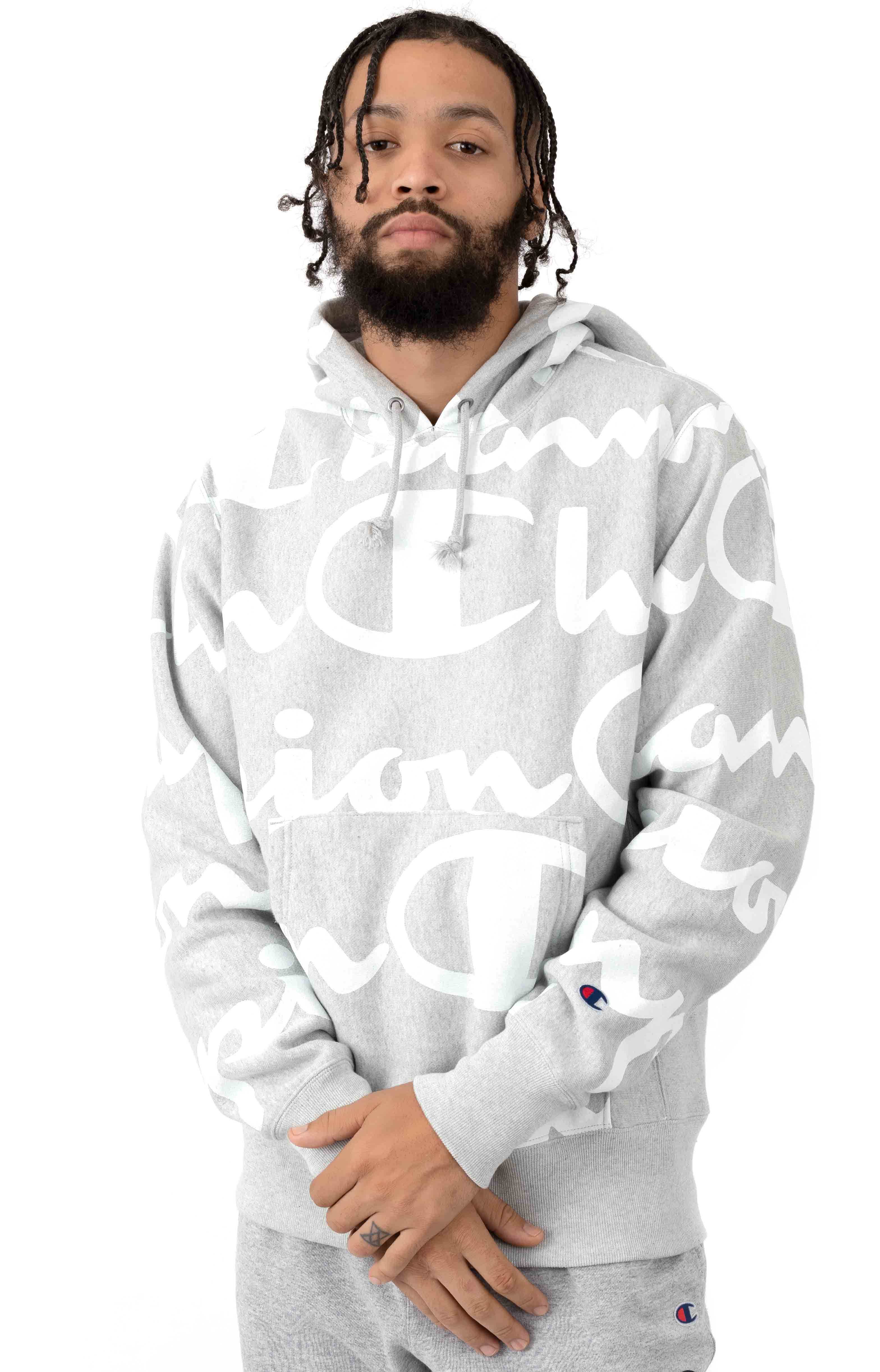 RW Giant All Over Script Logo Pullover Hoodie - Oxford Grey