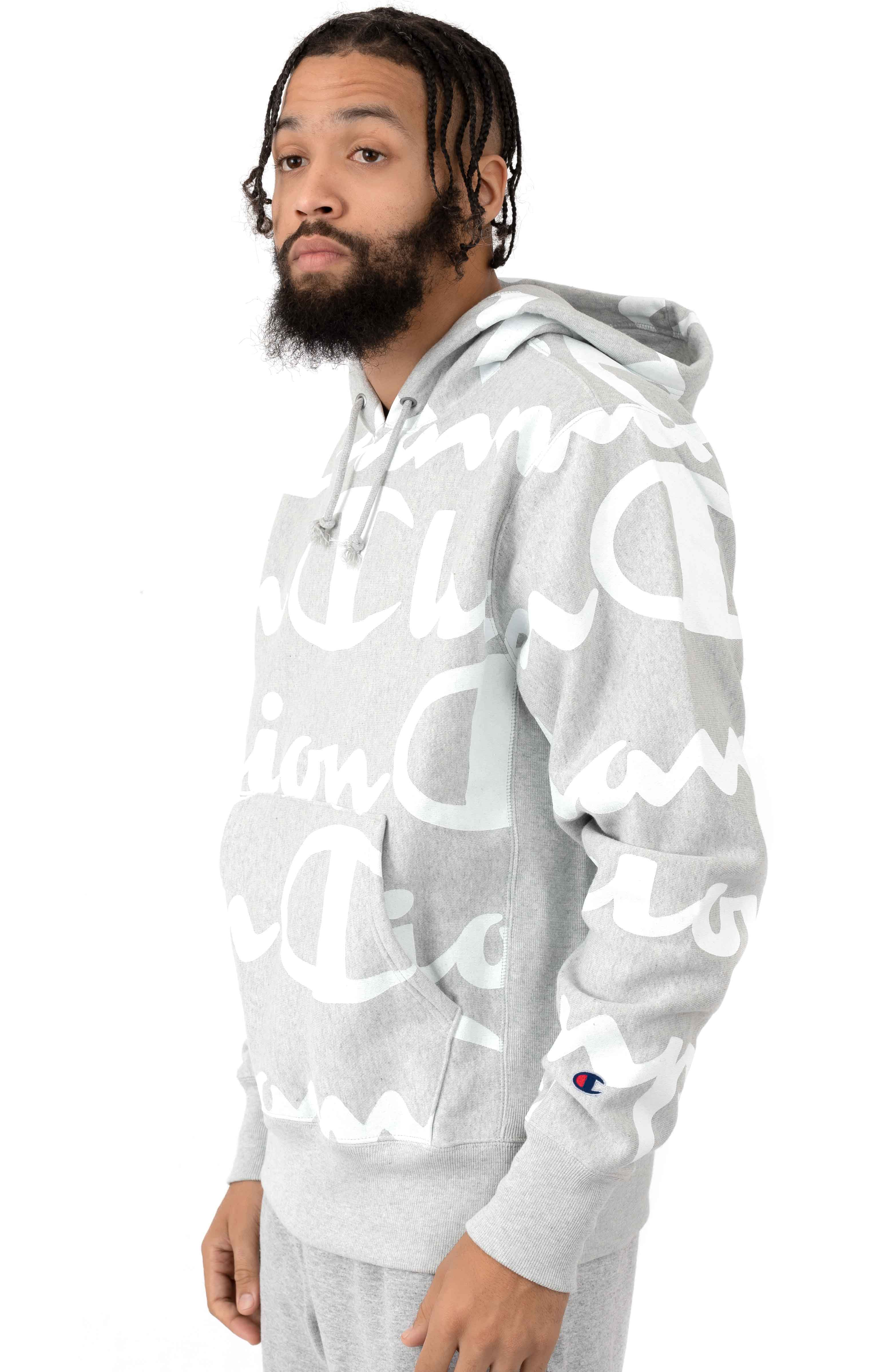 RW Giant All Over Script Logo Pullover Hoodie - Oxford Grey 2