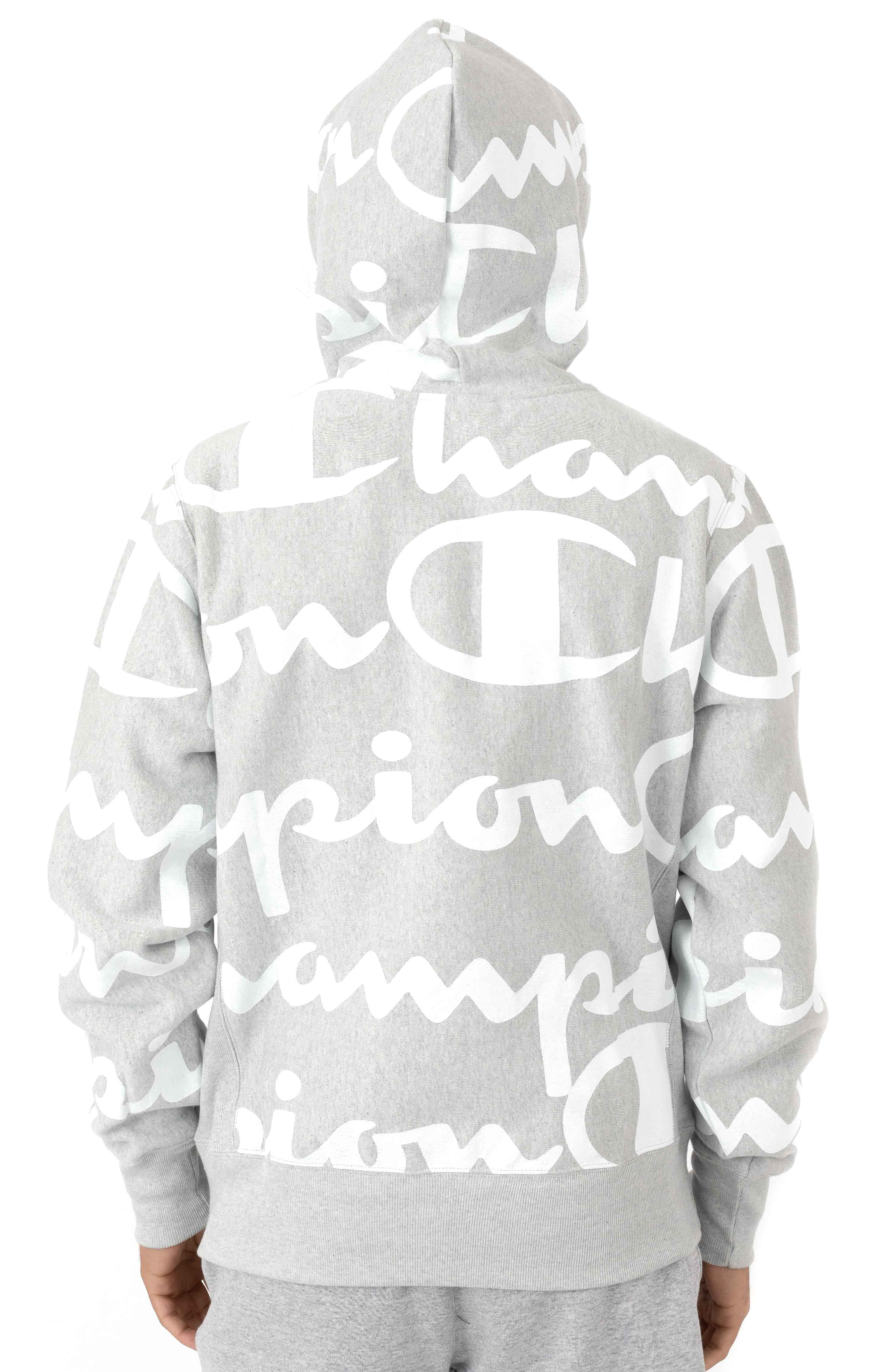 RW Giant All Over Script Logo Pullover Hoodie - Oxford Grey 3
