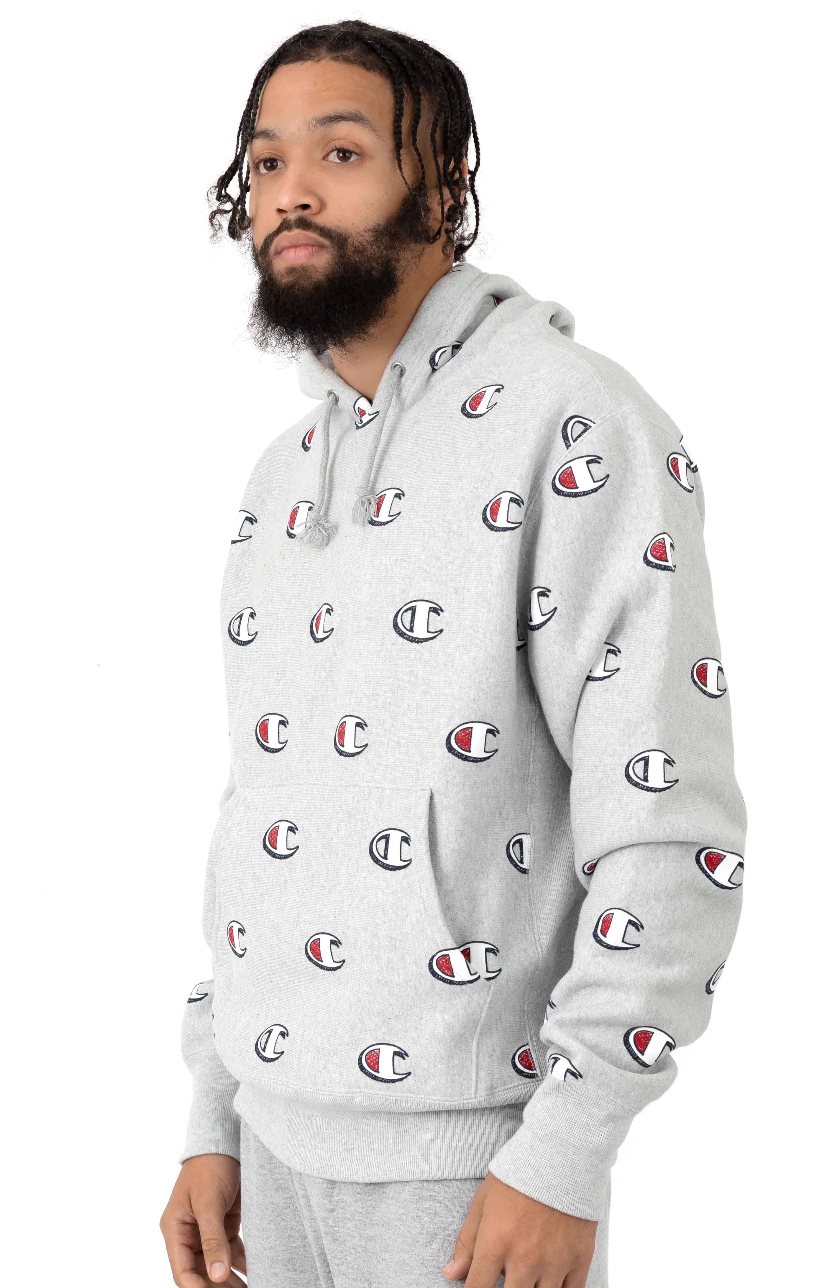 RW All Over Scribble Logo Pullover Hoodie - Oxford Grey 2