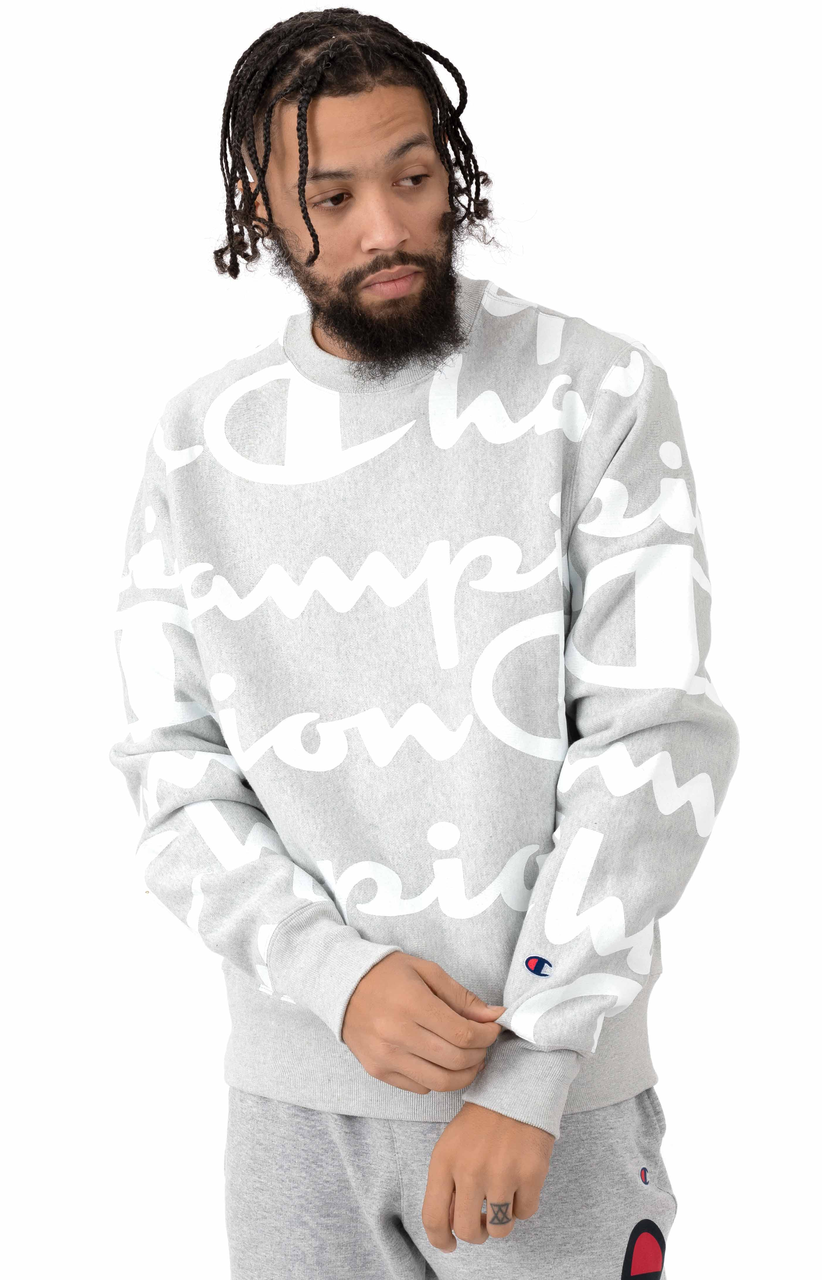Reverse Weave Giant All Over Script Crewneck - Oxford Grey