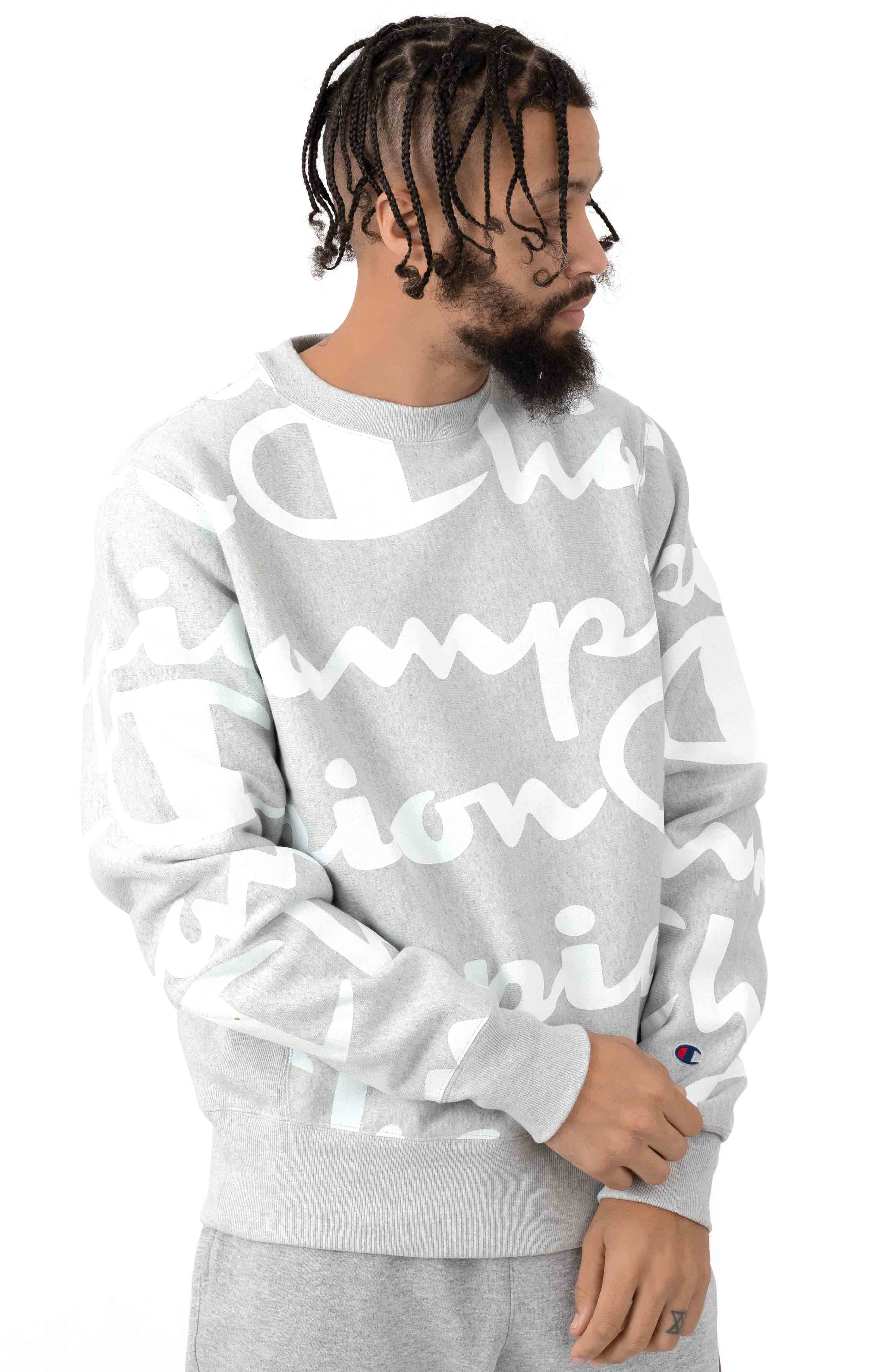 Reverse Weave Giant All Over Script Crewneck - Oxford Grey 2