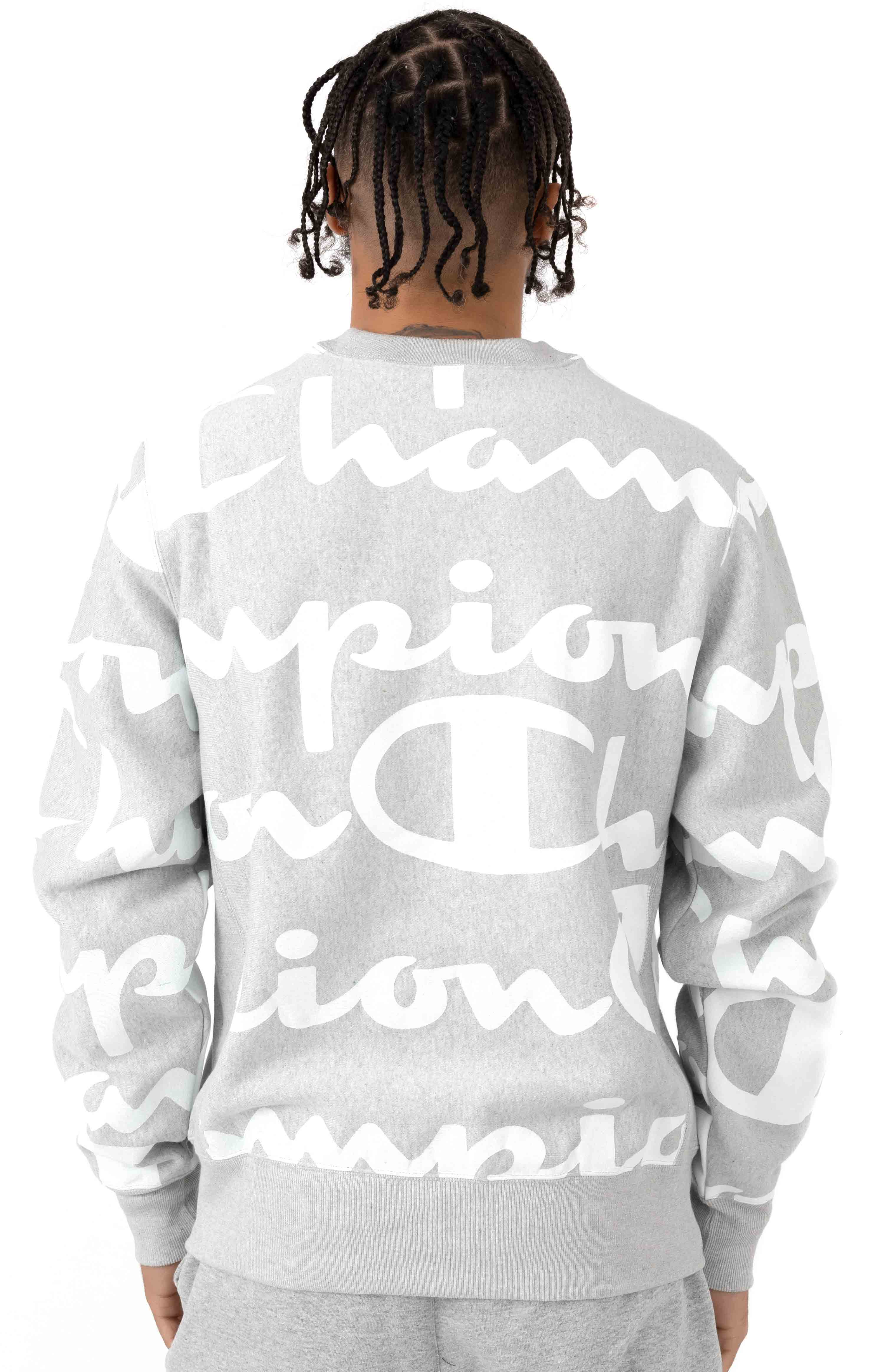 Reverse Weave Giant All Over Script Crewneck - Oxford Grey 3