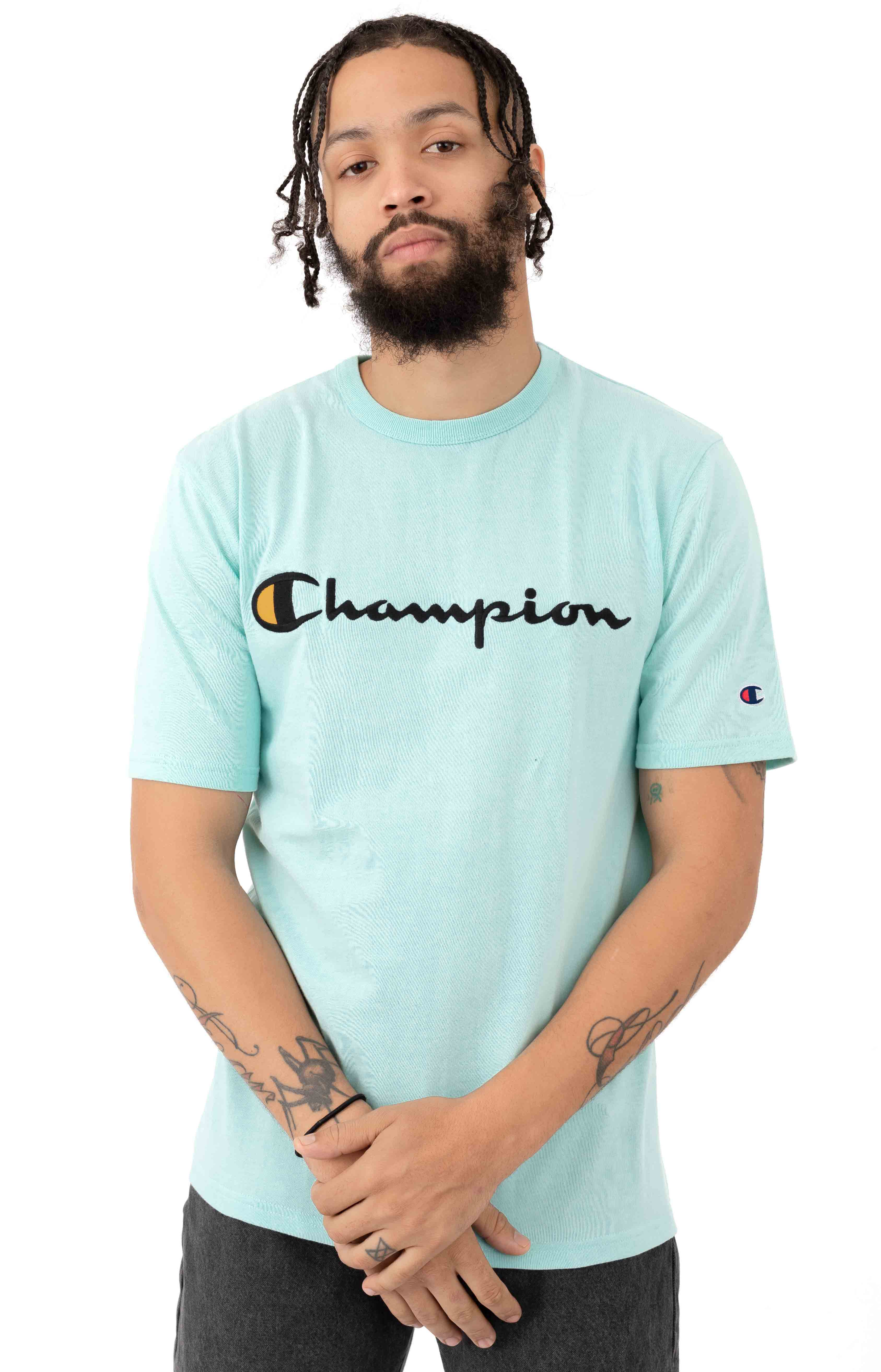 Champion LIFE, Heritage Script Embroidered T-Shirt - Waterfall Green