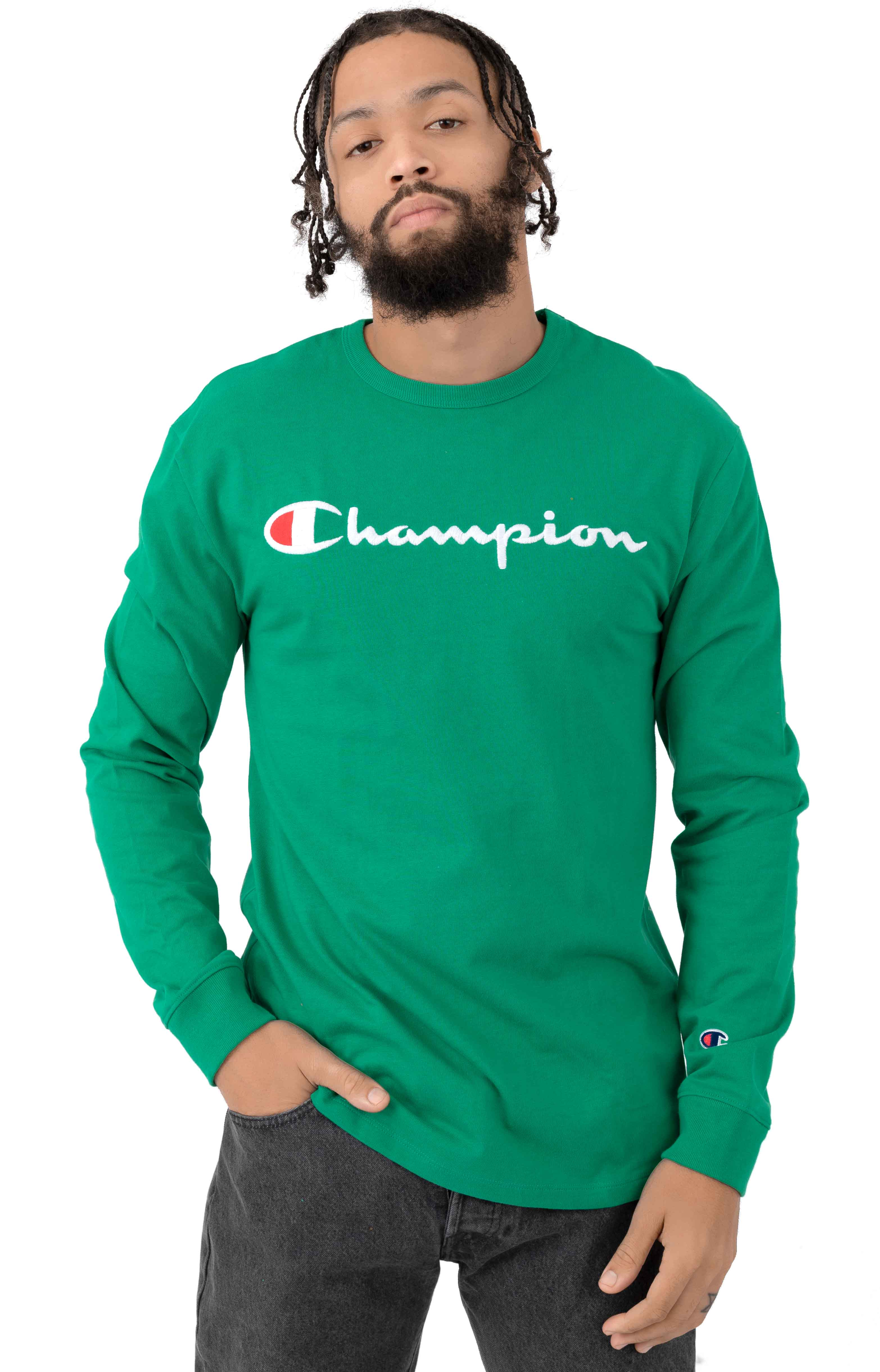 Heritage Script Embroidered L/S Shirt - Kelly Green