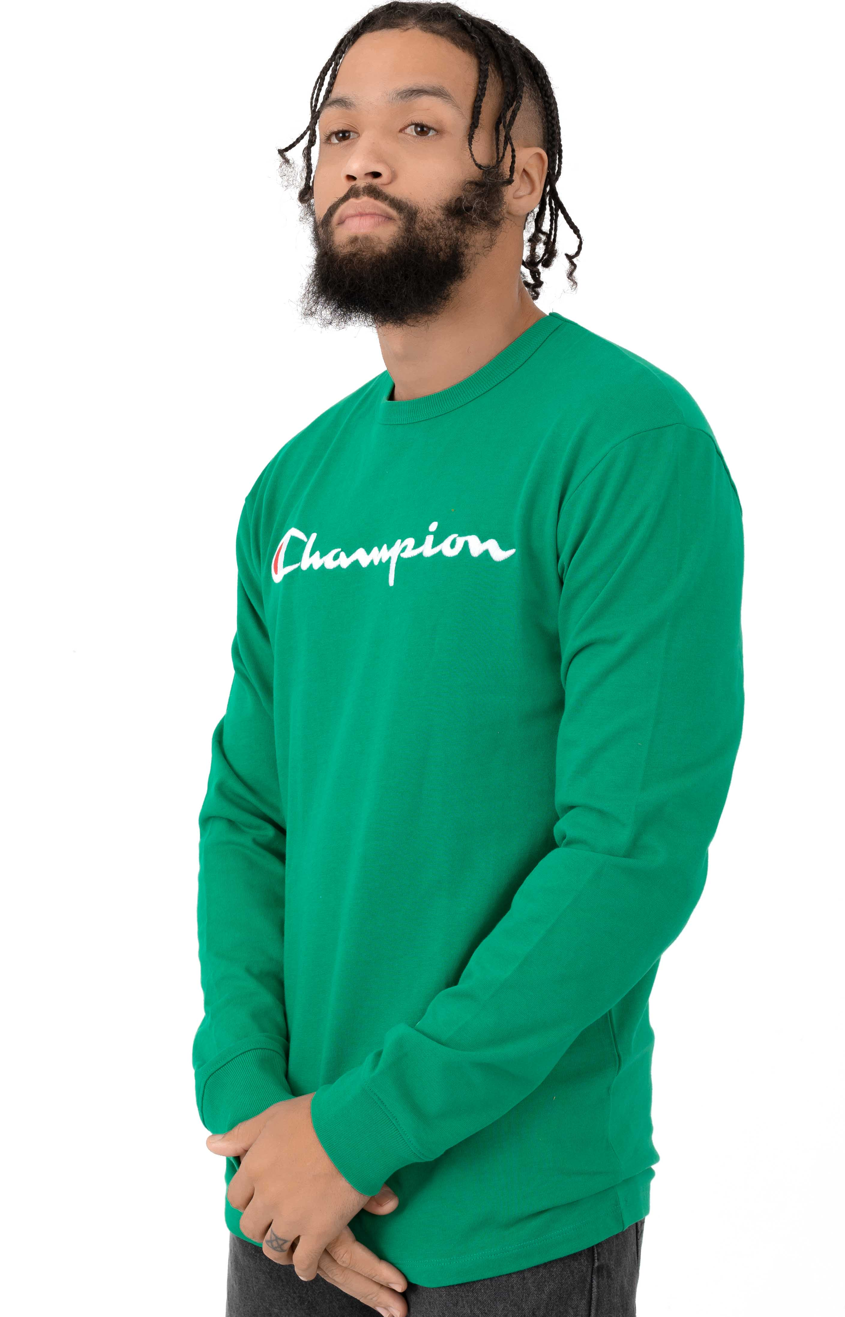 Heritage Script Embroidered L/S Shirt - Kelly Green 2