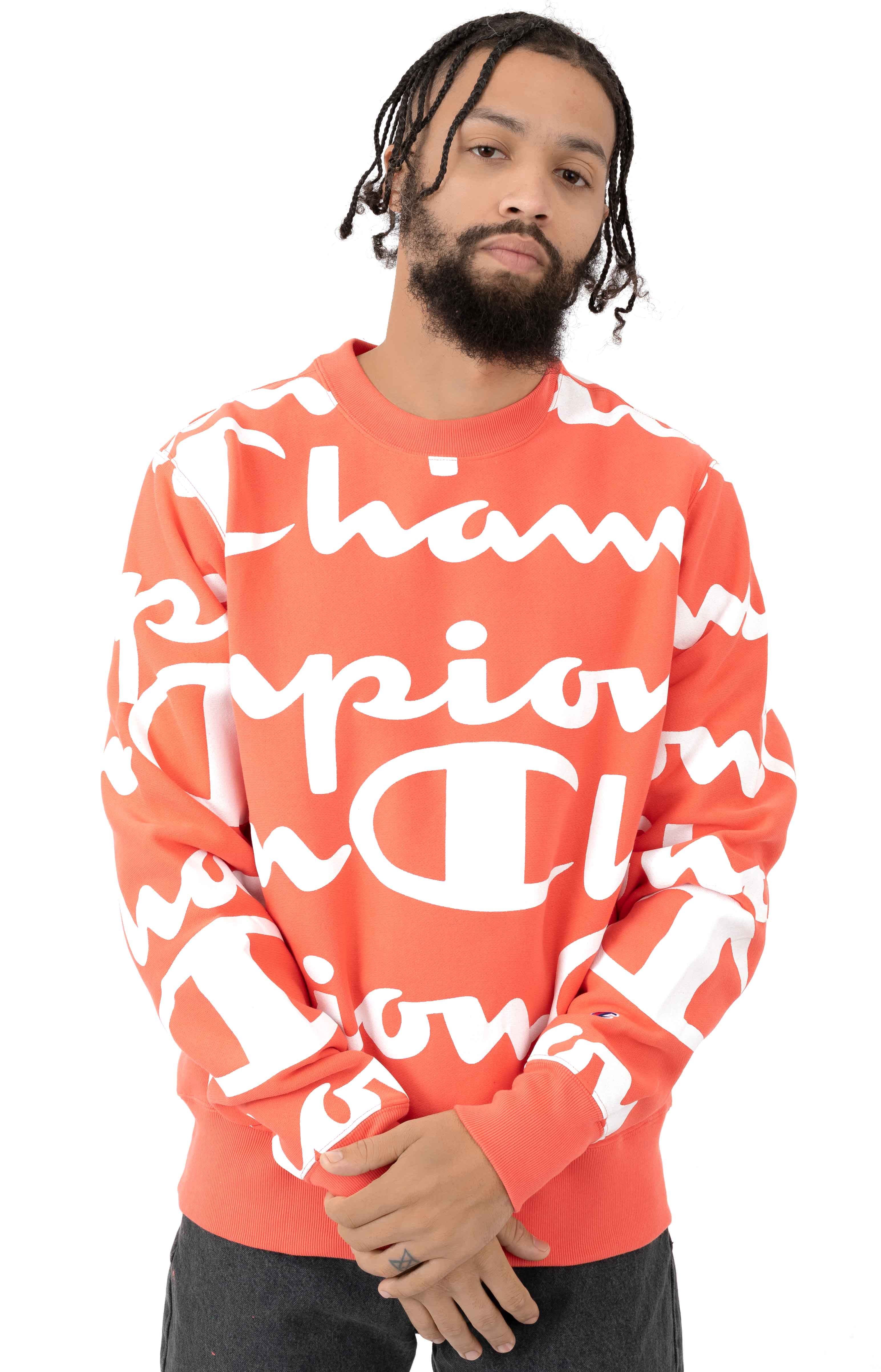 Reverse Weave Giant All Over Script Logo Crewneck - Groovy Papaya