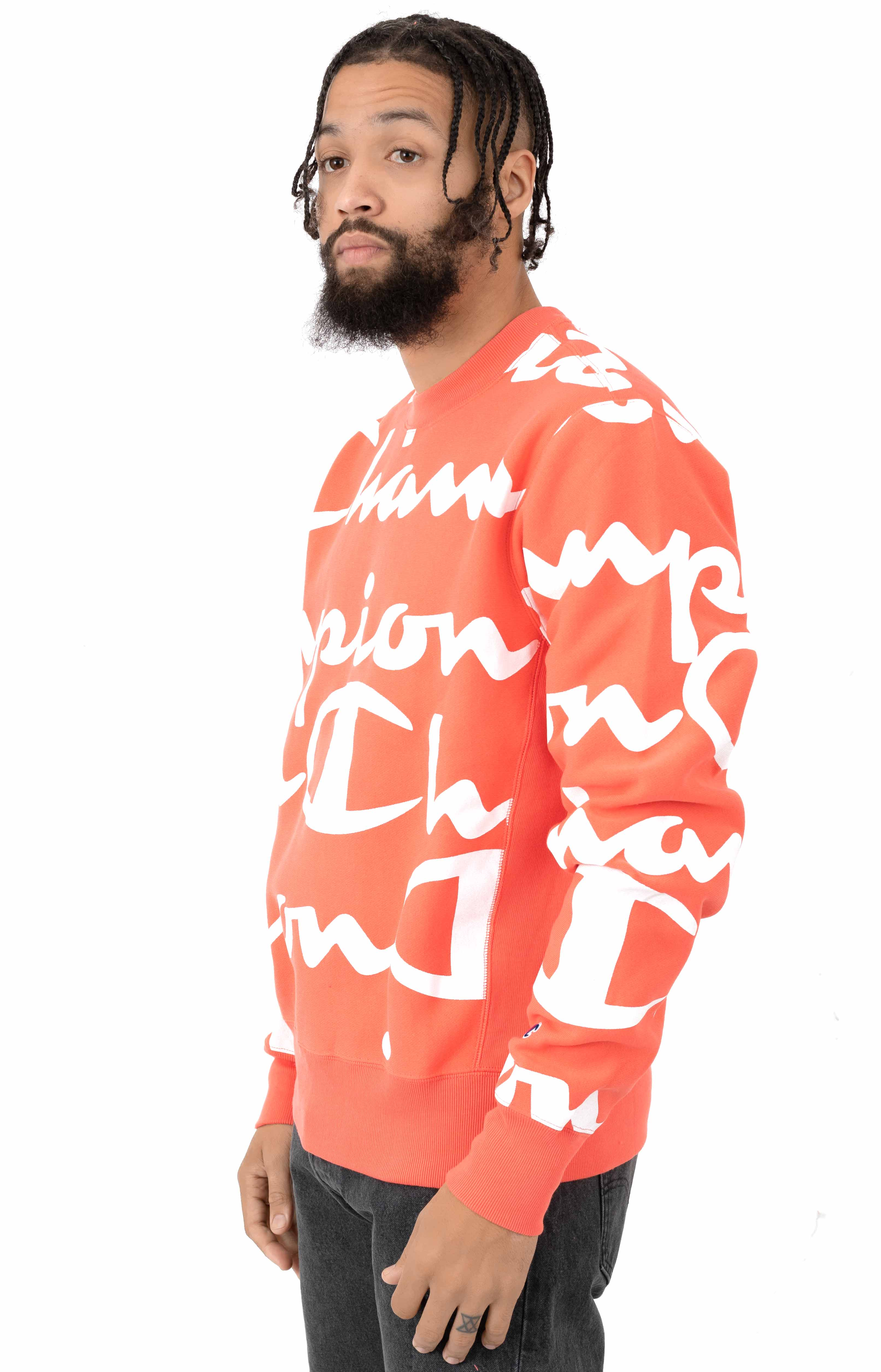 Reverse Weave Giant All Over Script Logo Crewneck - Groovy Papaya 2