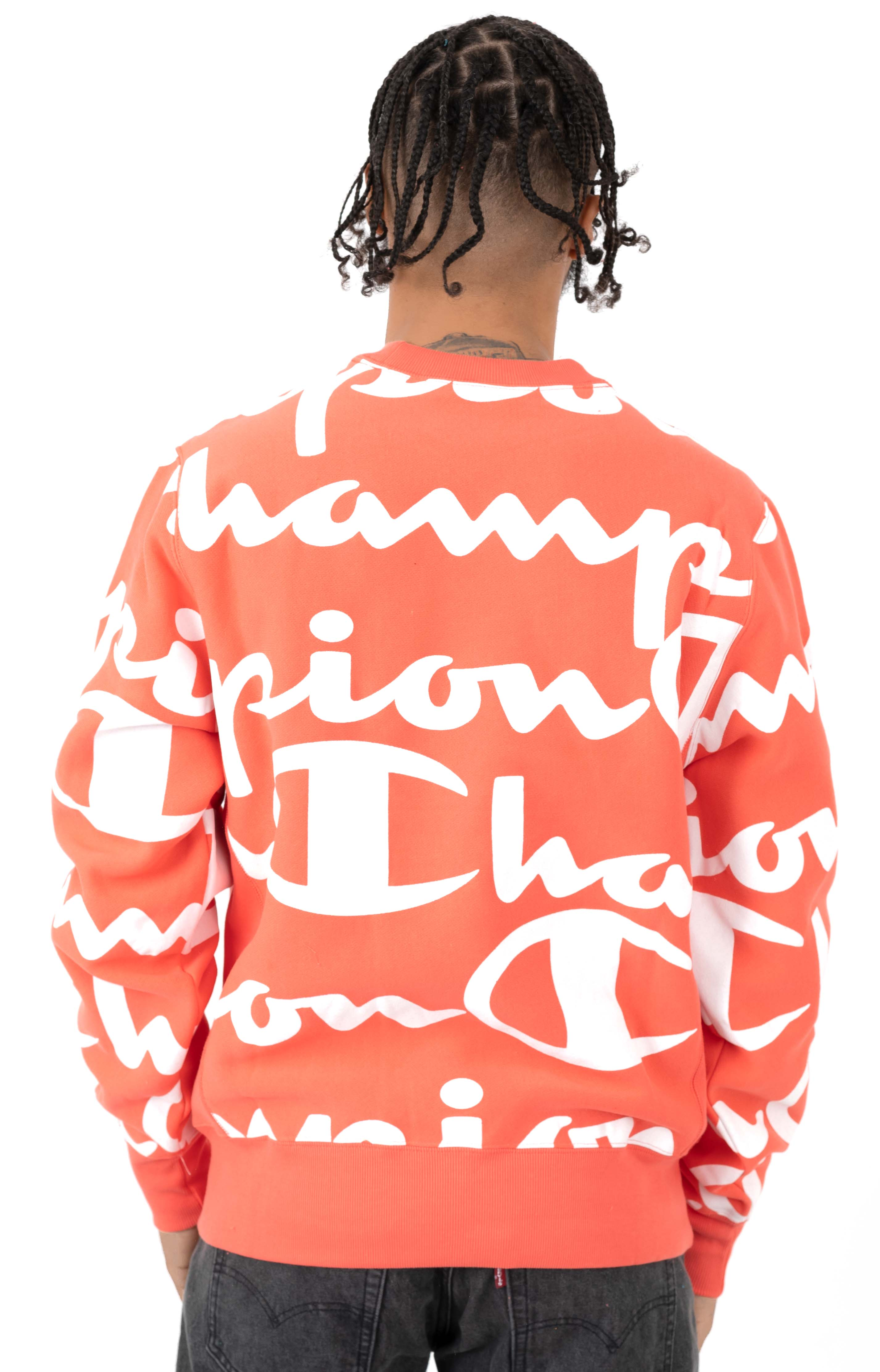 Reverse Weave Giant All Over Script Logo Crewneck - Groovy Papaya 3