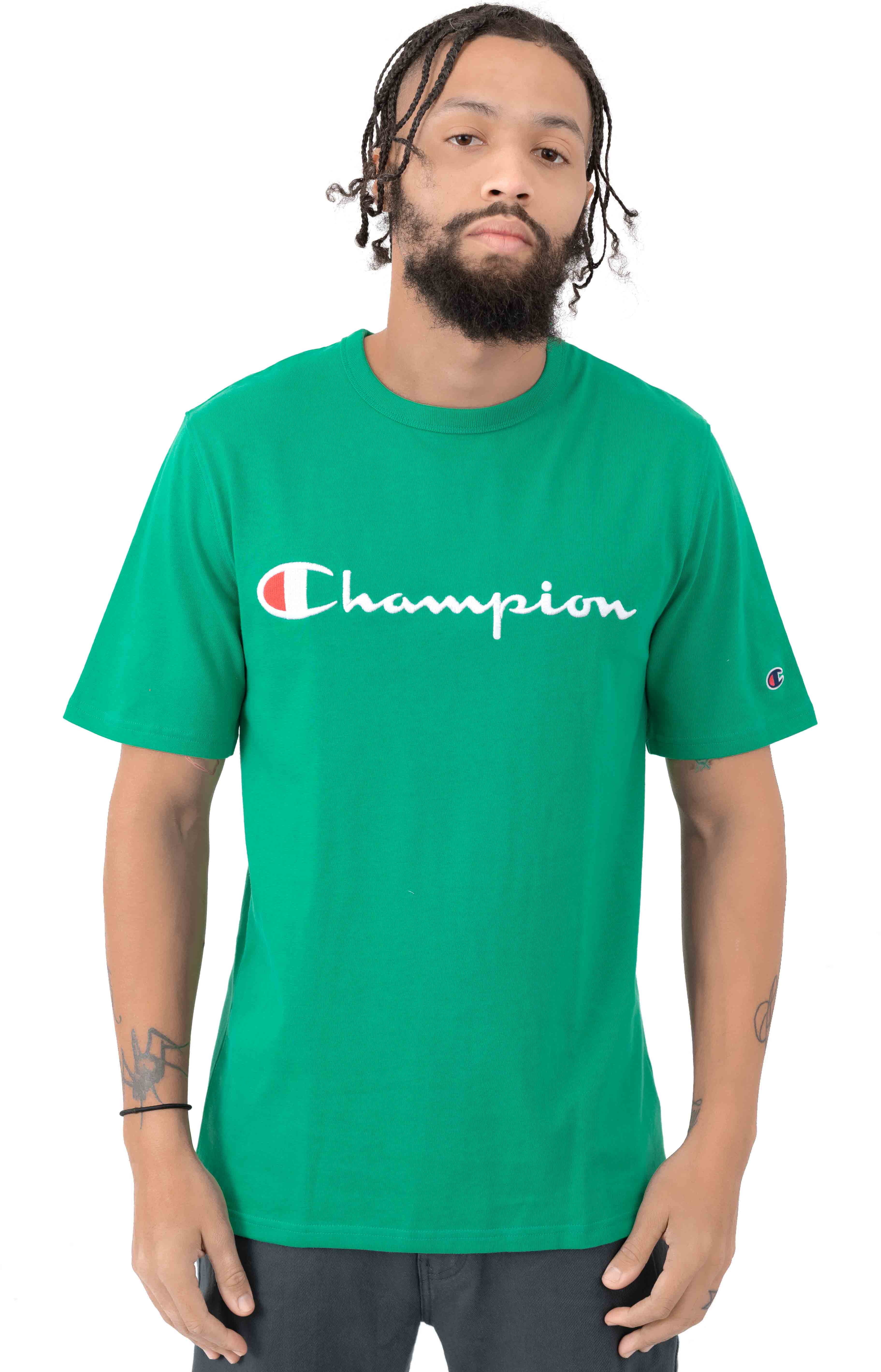 Heritage Script Embroidered T-Shirt - Kelly Green