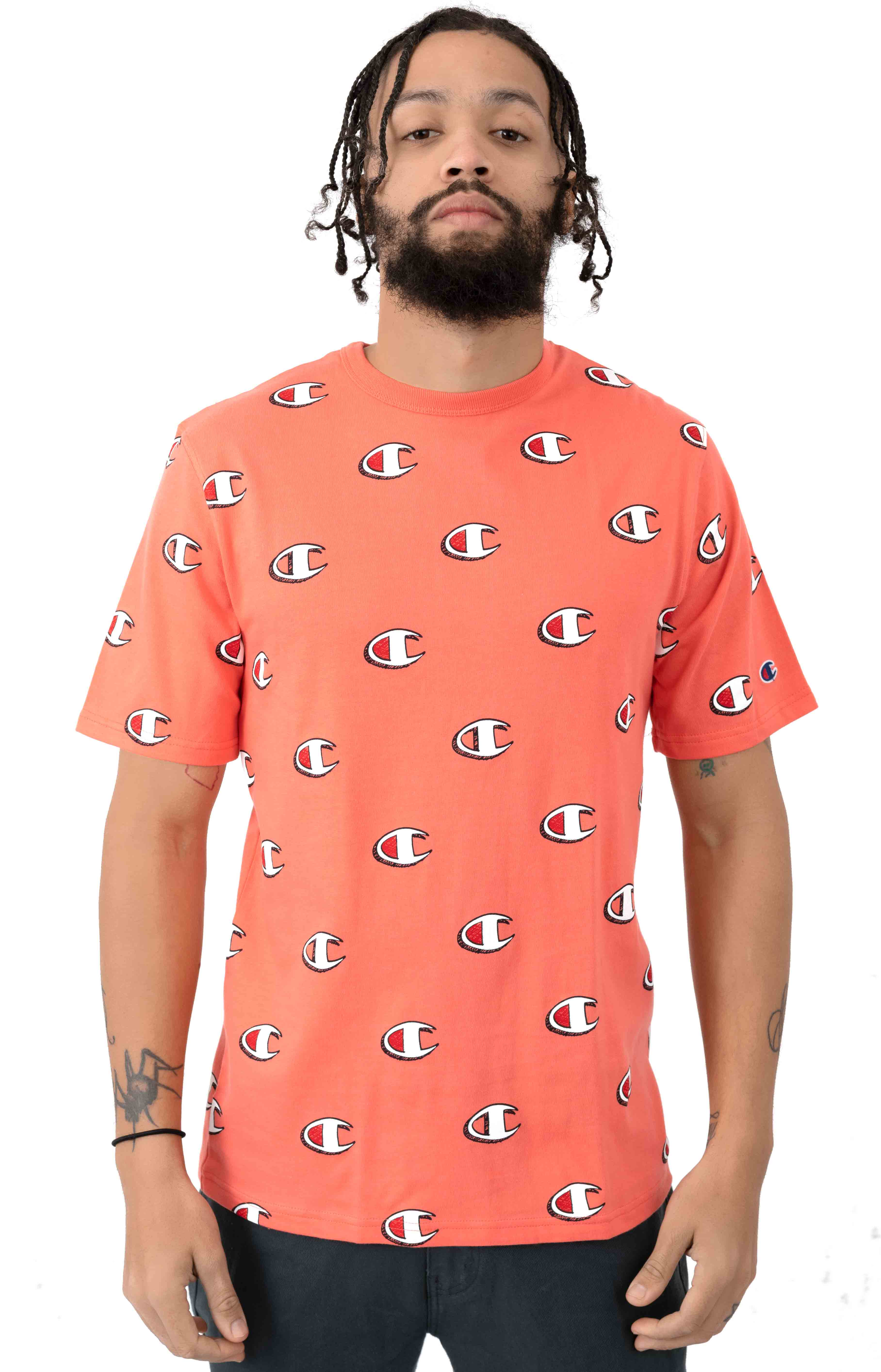 Heritage All Over Scribble Logo T-Shirt - Groovy Papaya
