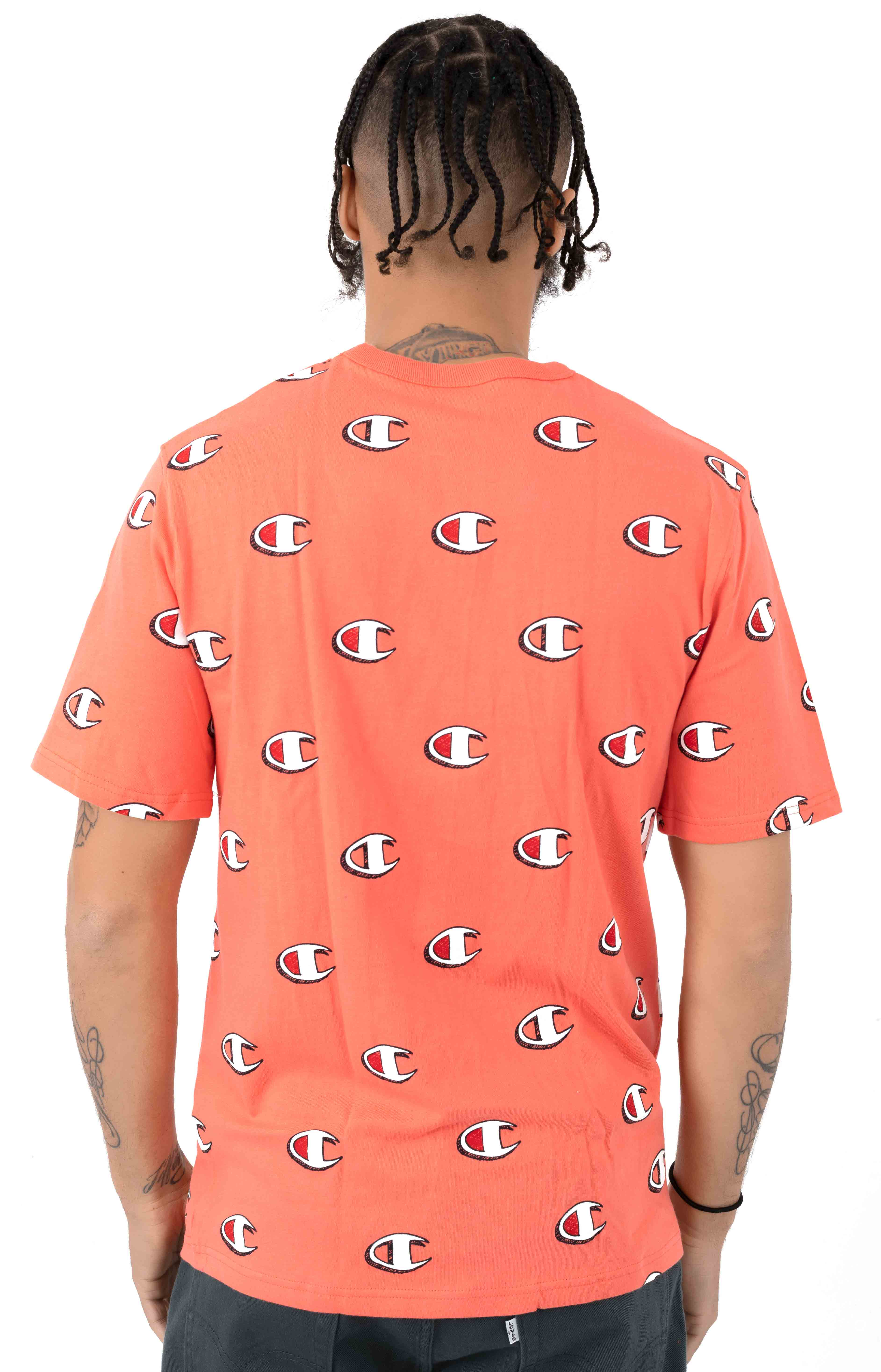 Heritage All Over Scribble Logo T-Shirt - Groovy Papaya 3