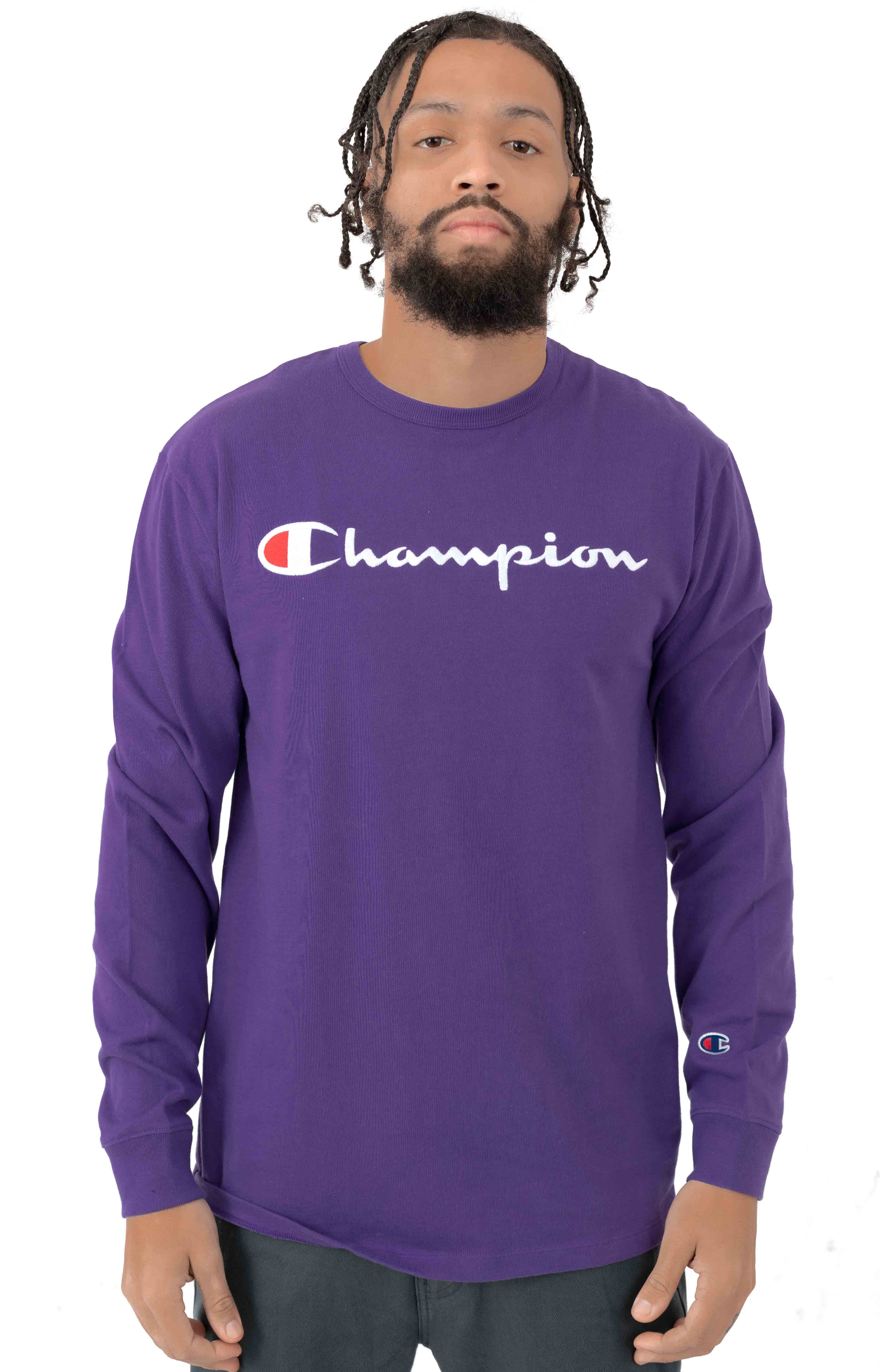 Heritage Script Embroidered L/S Shirt - Purple