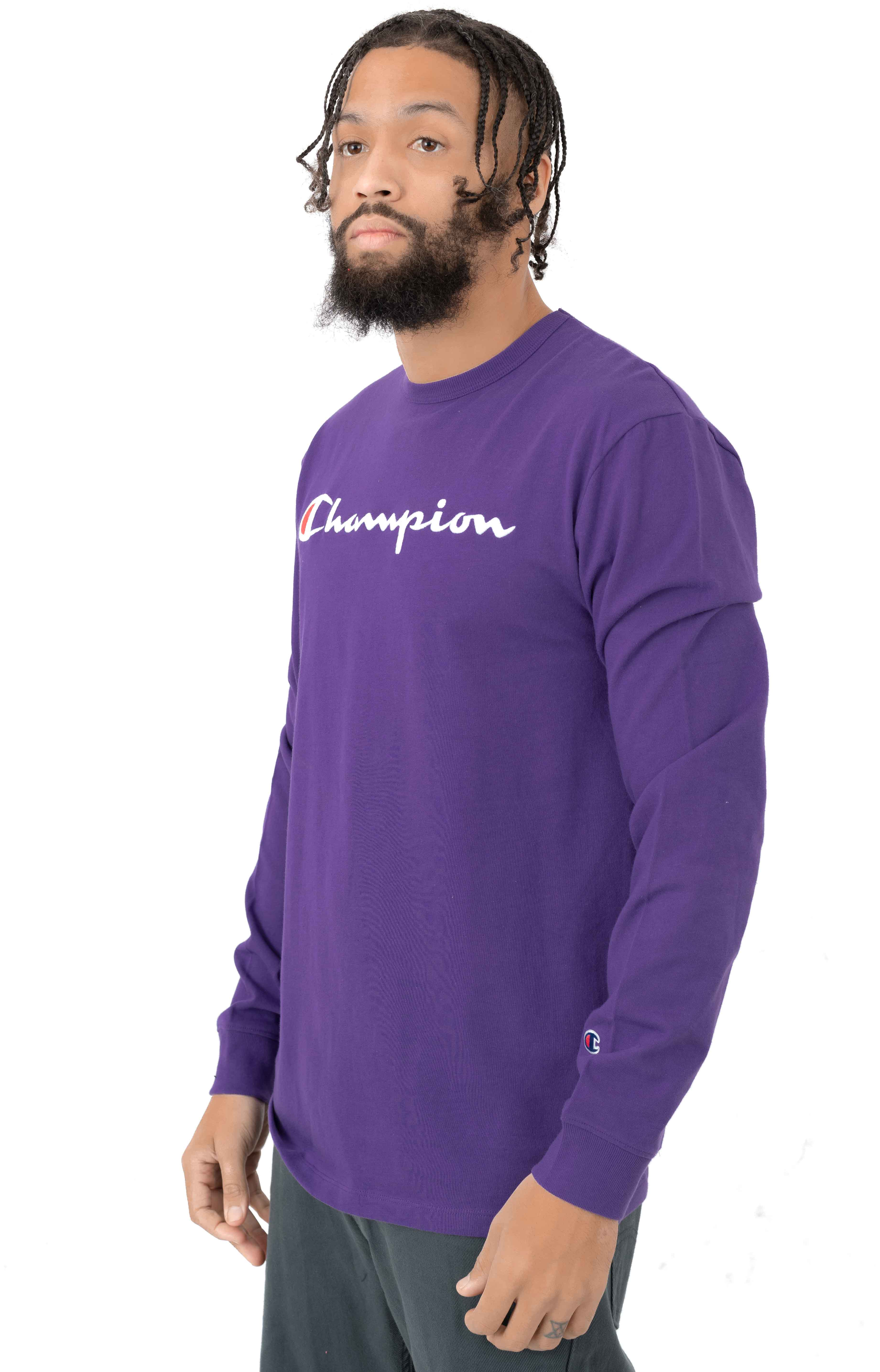 Heritage Script Embroidered L/S Shirt - Purple  2