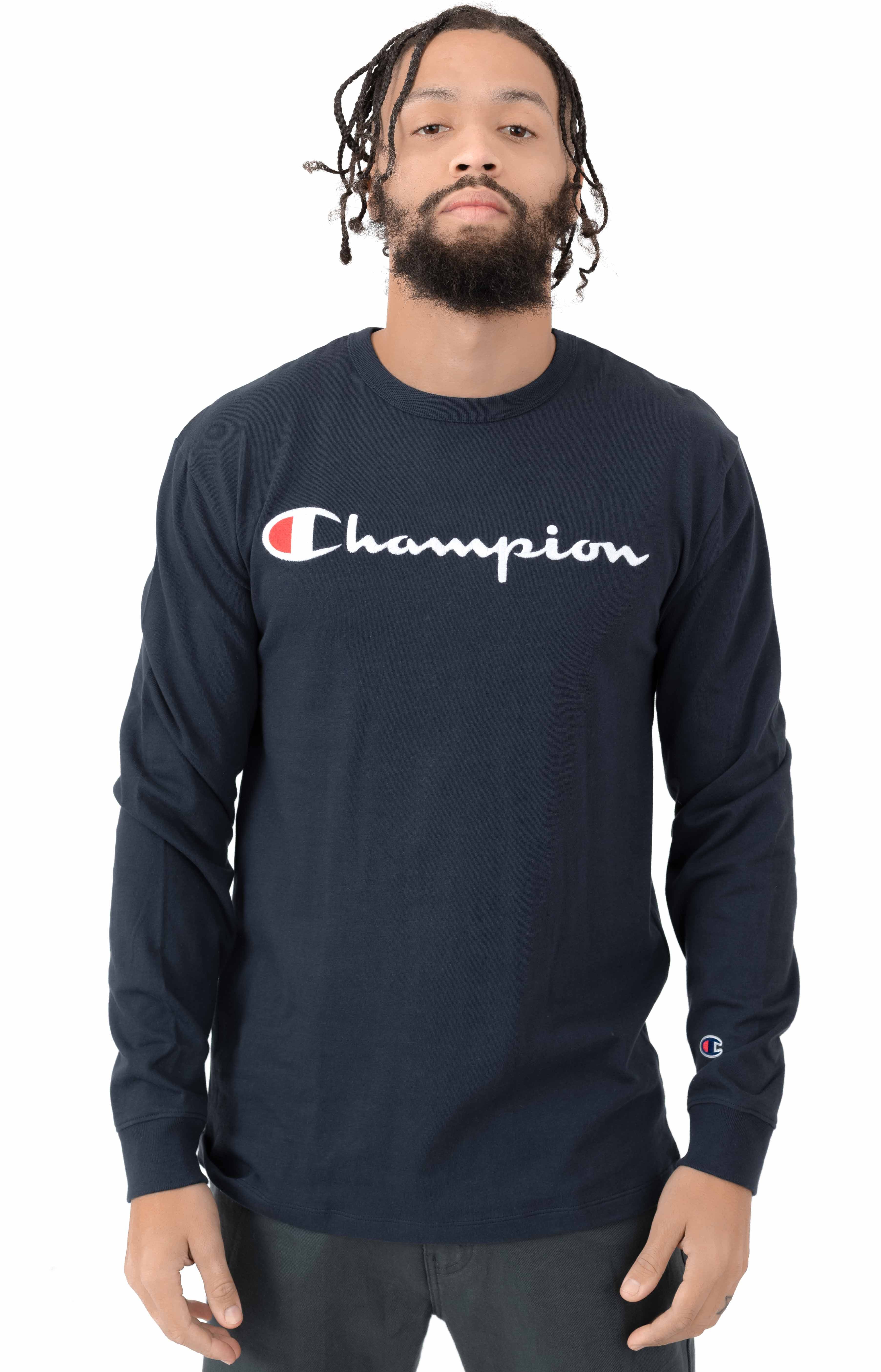 Heritage Script Embroidered L/S Shirt - Navy