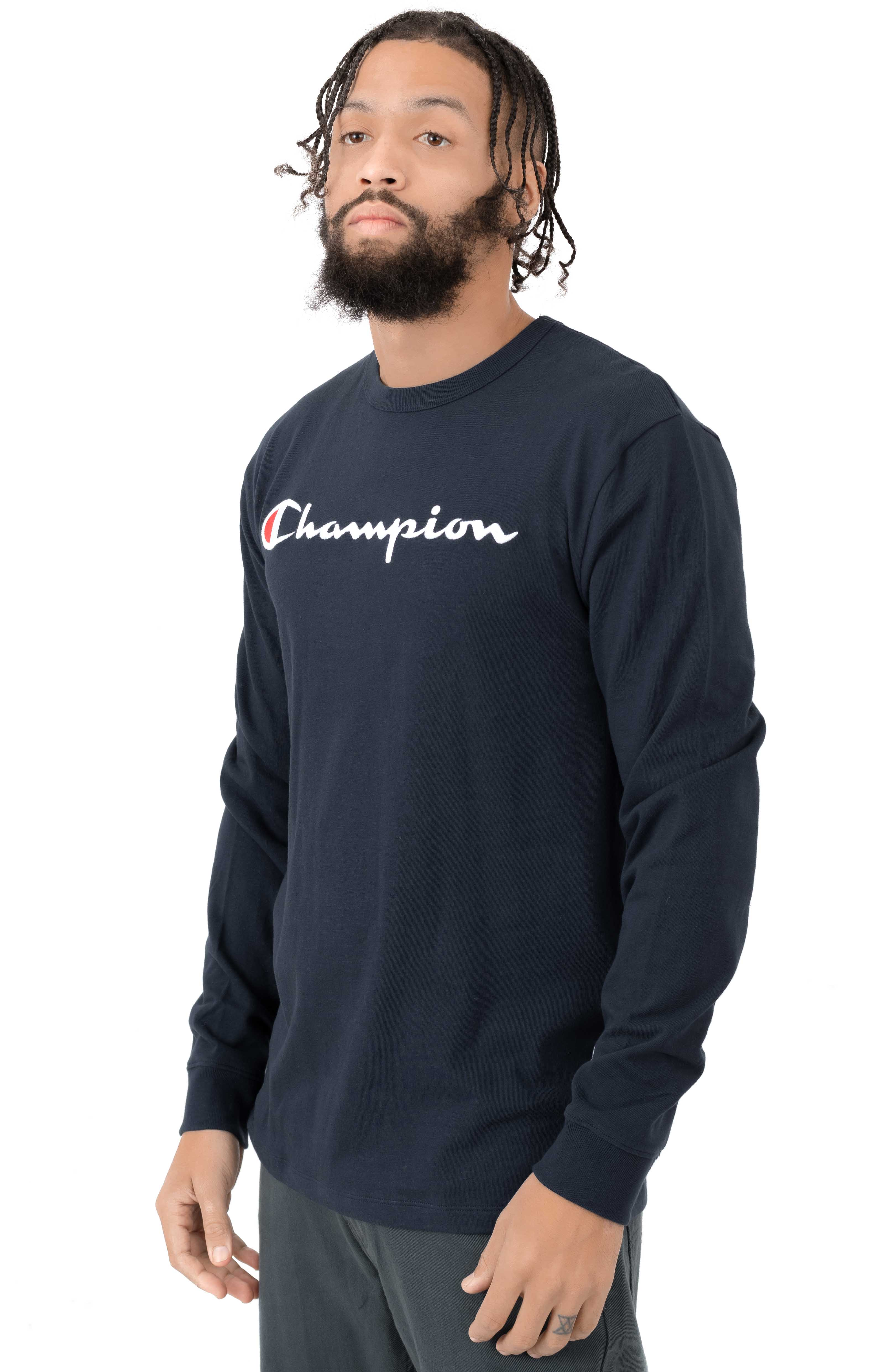 Heritage Script Embroidered L/S Shirt - Navy 2