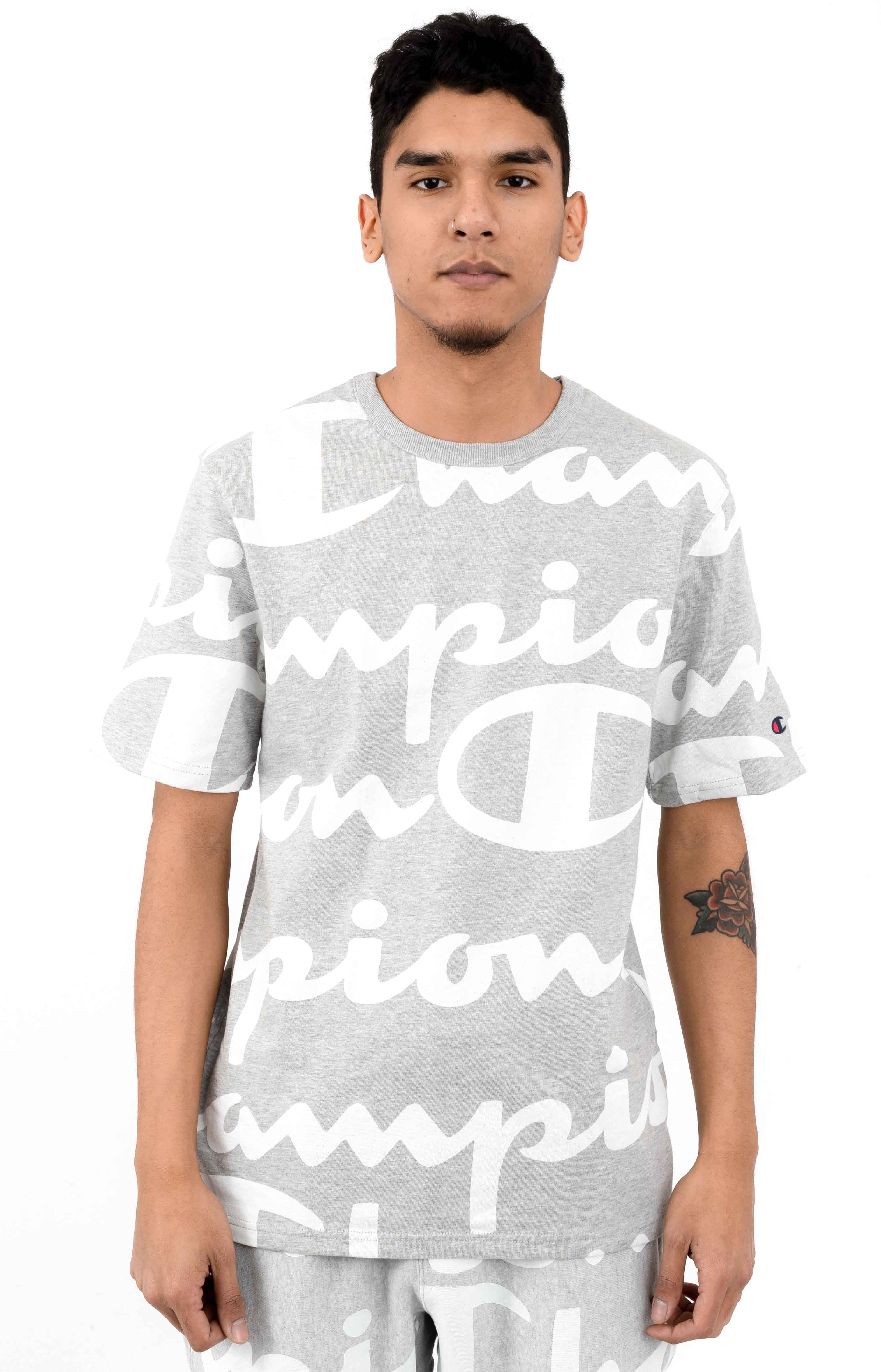 Heritage Giant All Over Script T-Shirt - Oxford Grey