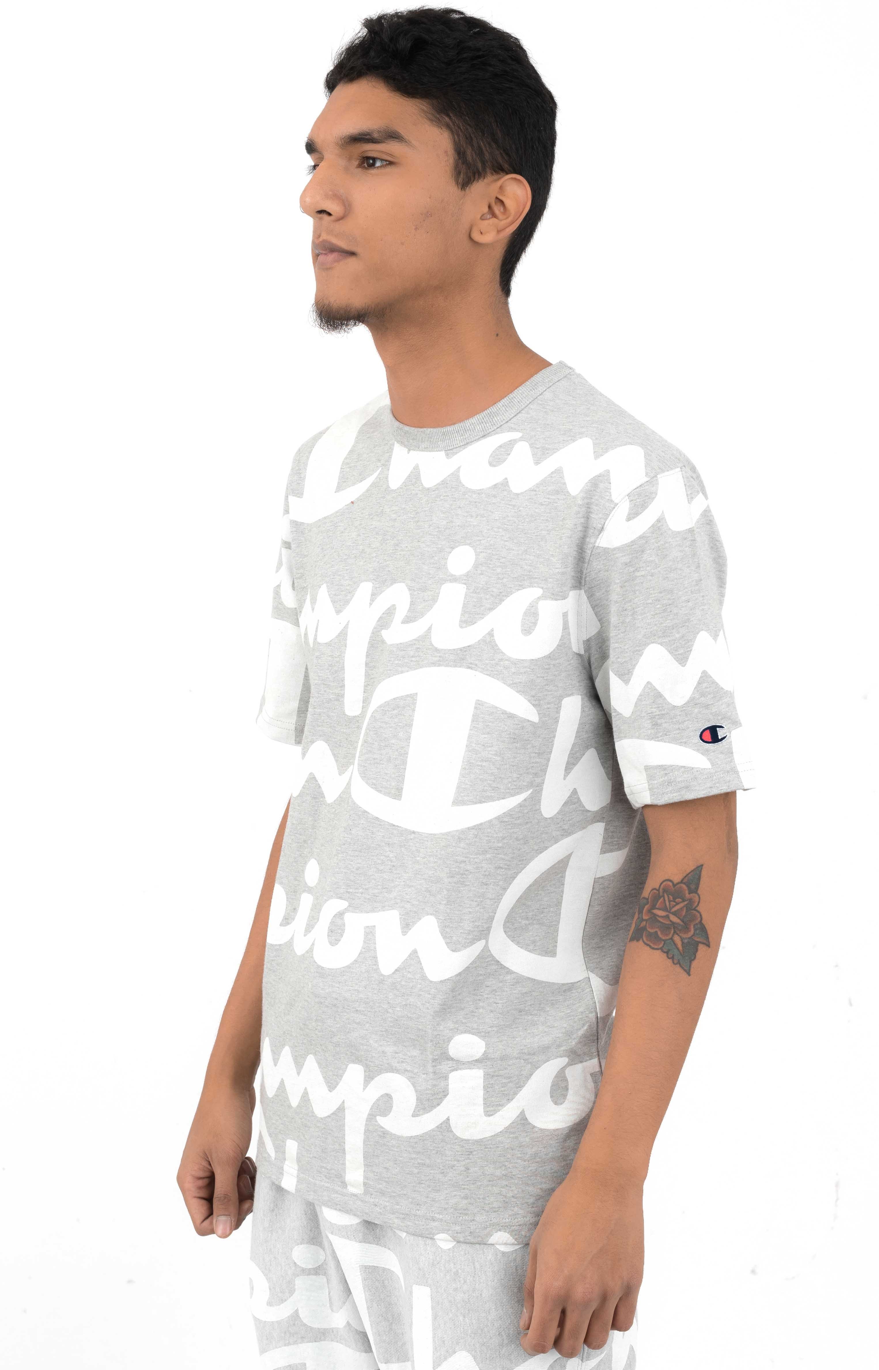 Heritage Giant All Over Script T-Shirt - Oxford Grey 2