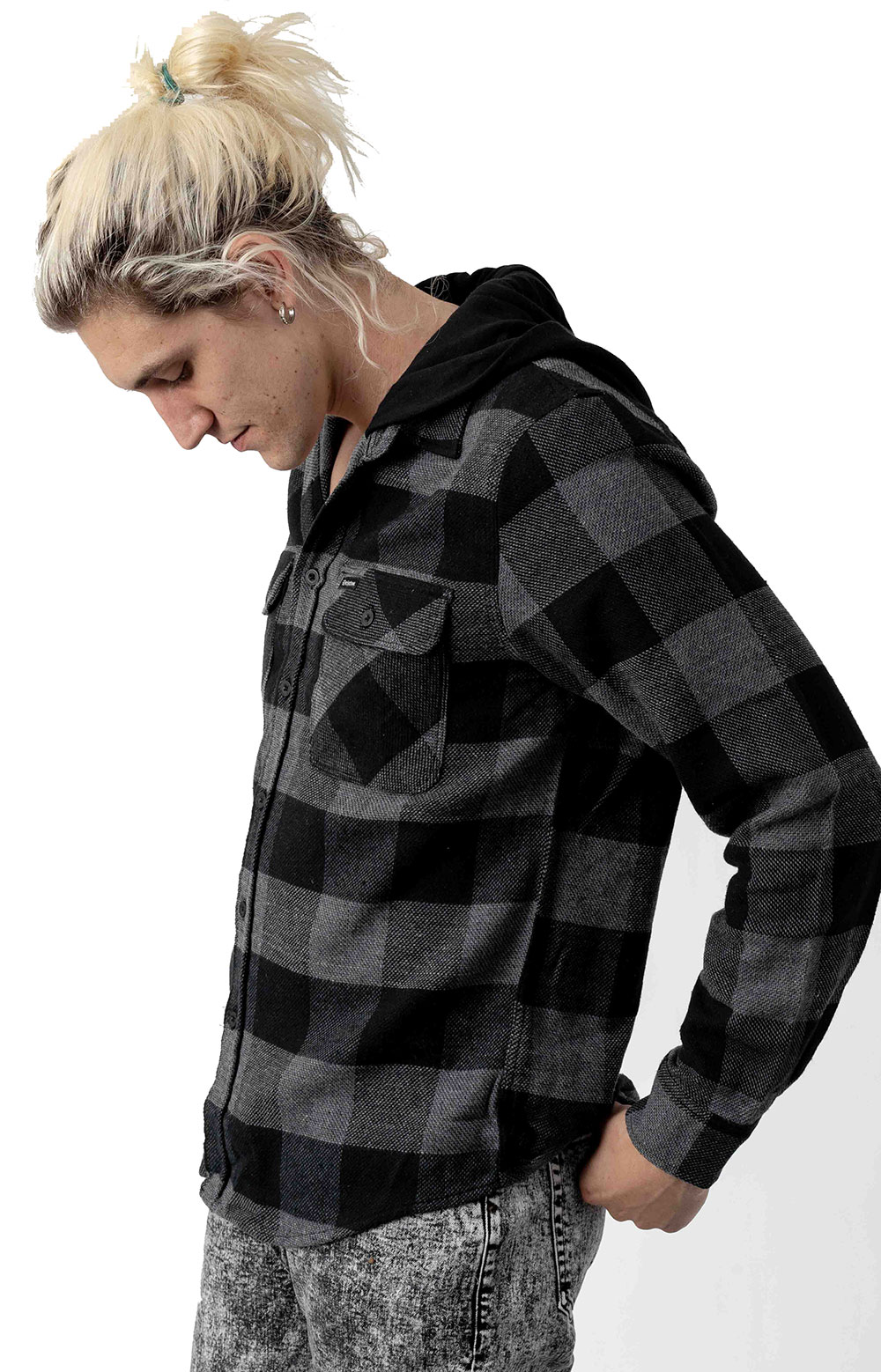 Bowery Hood L/S Flannel Button-Up Shirt - Black/Heather Grey 2
