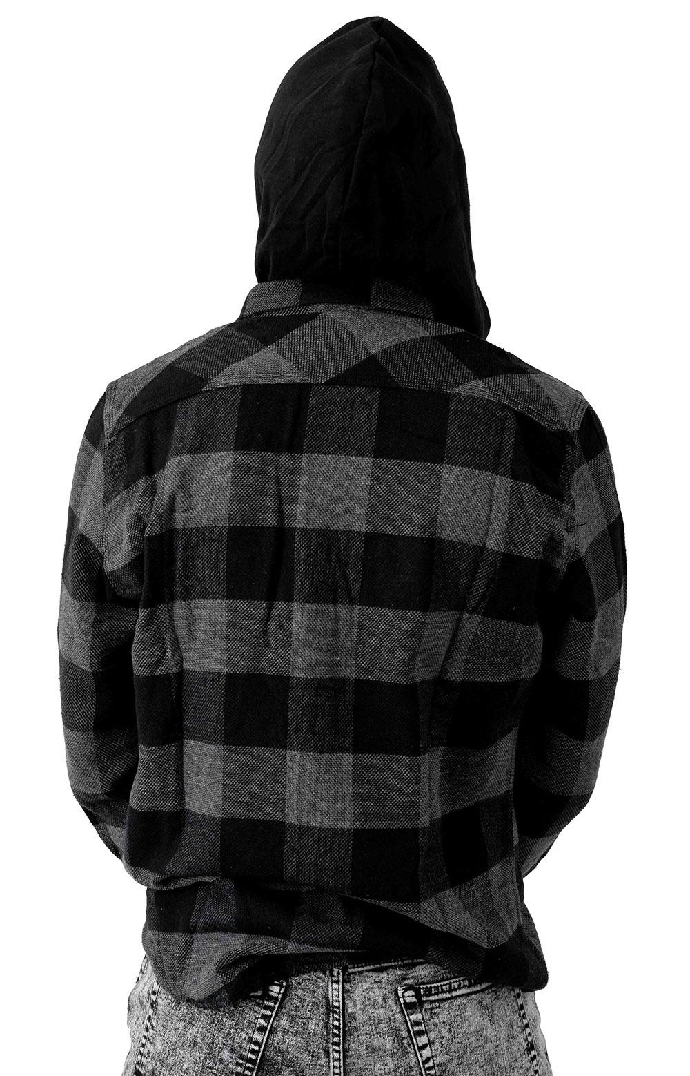 Bowery Hood L/S Flannel Button-Up Shirt - Black/Heather Grey 3
