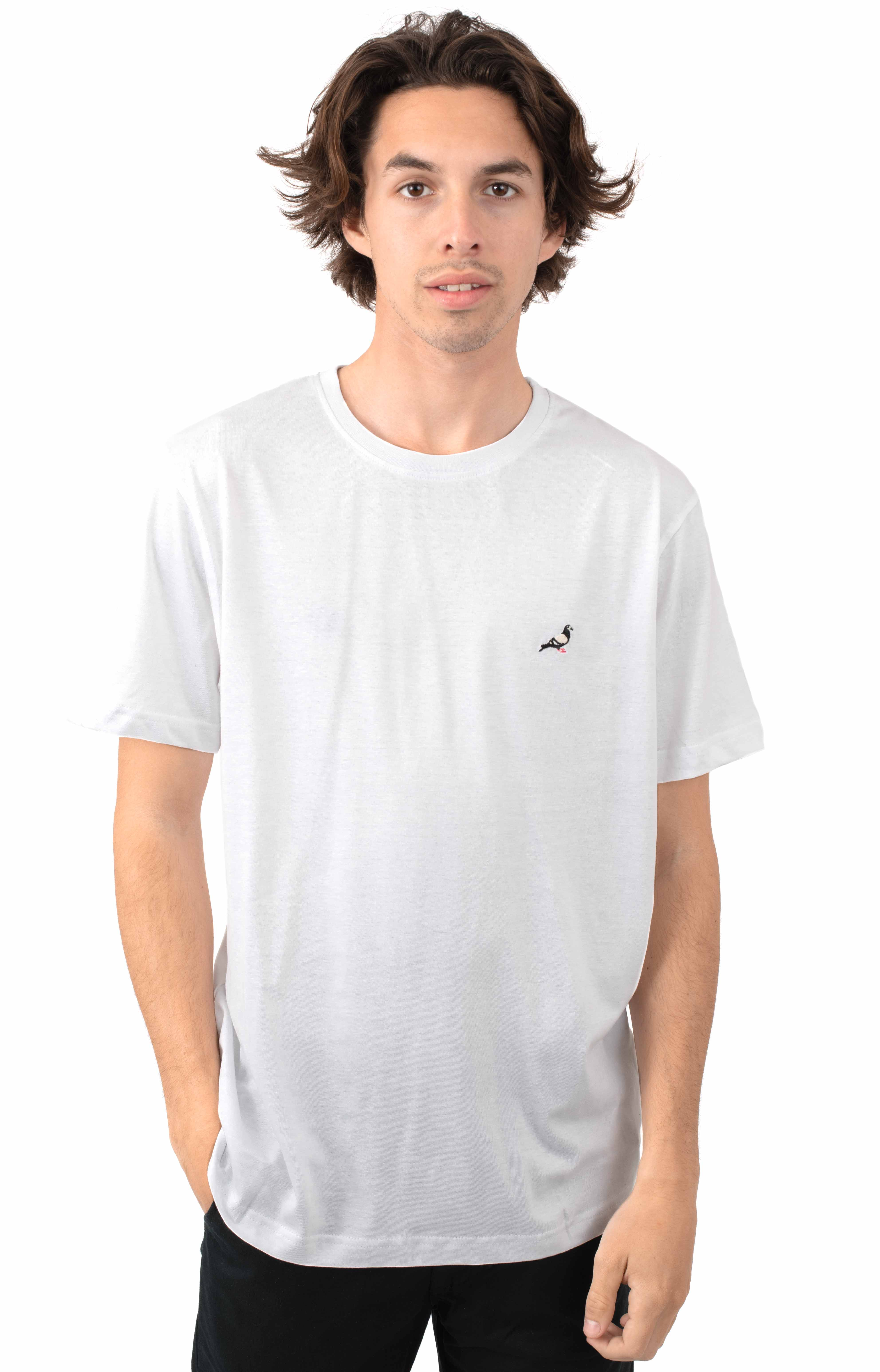 Pigeon Embroidered T-Shirt - White