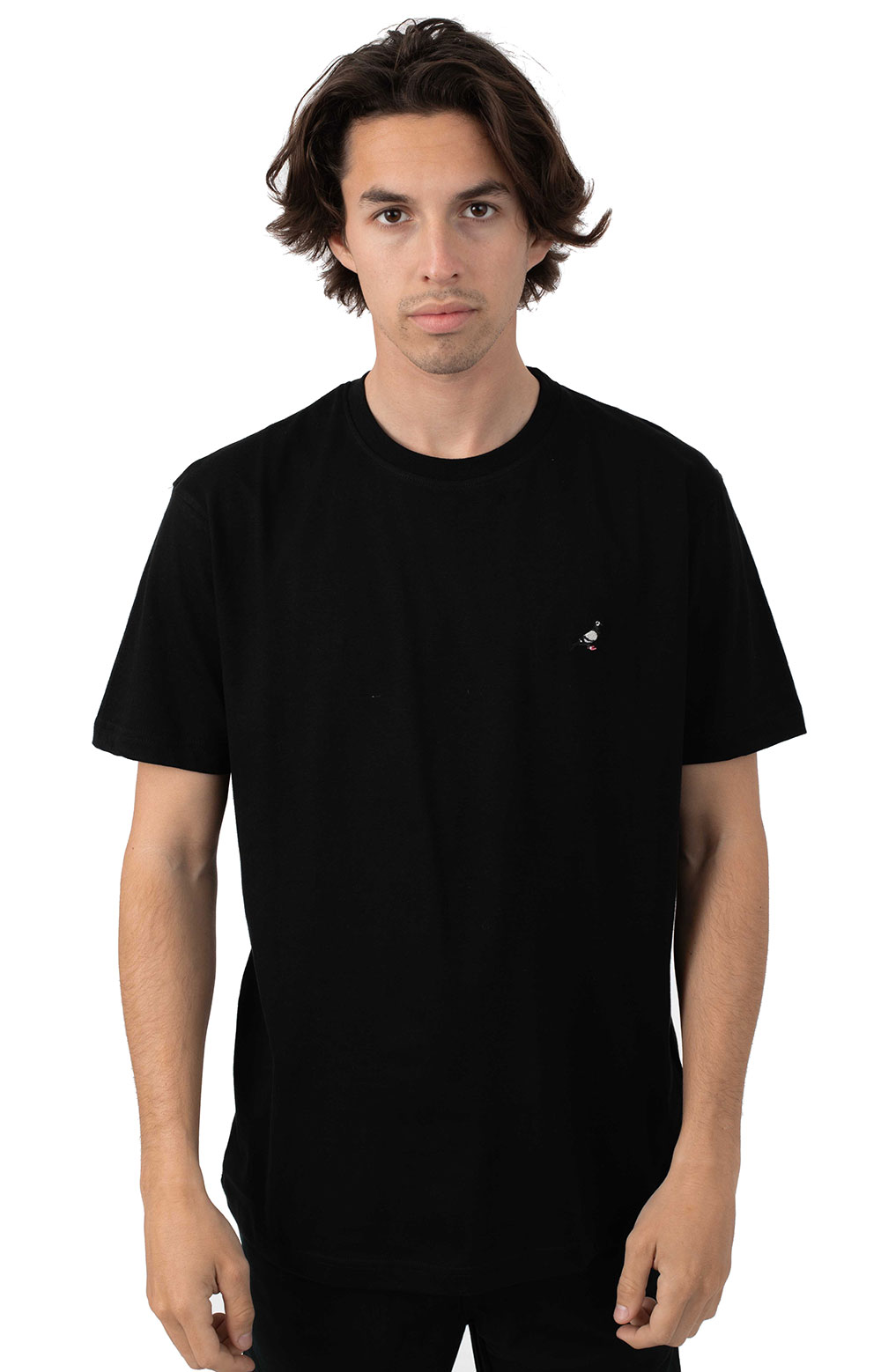 Pigeon Embroidered T-Shirt - Black