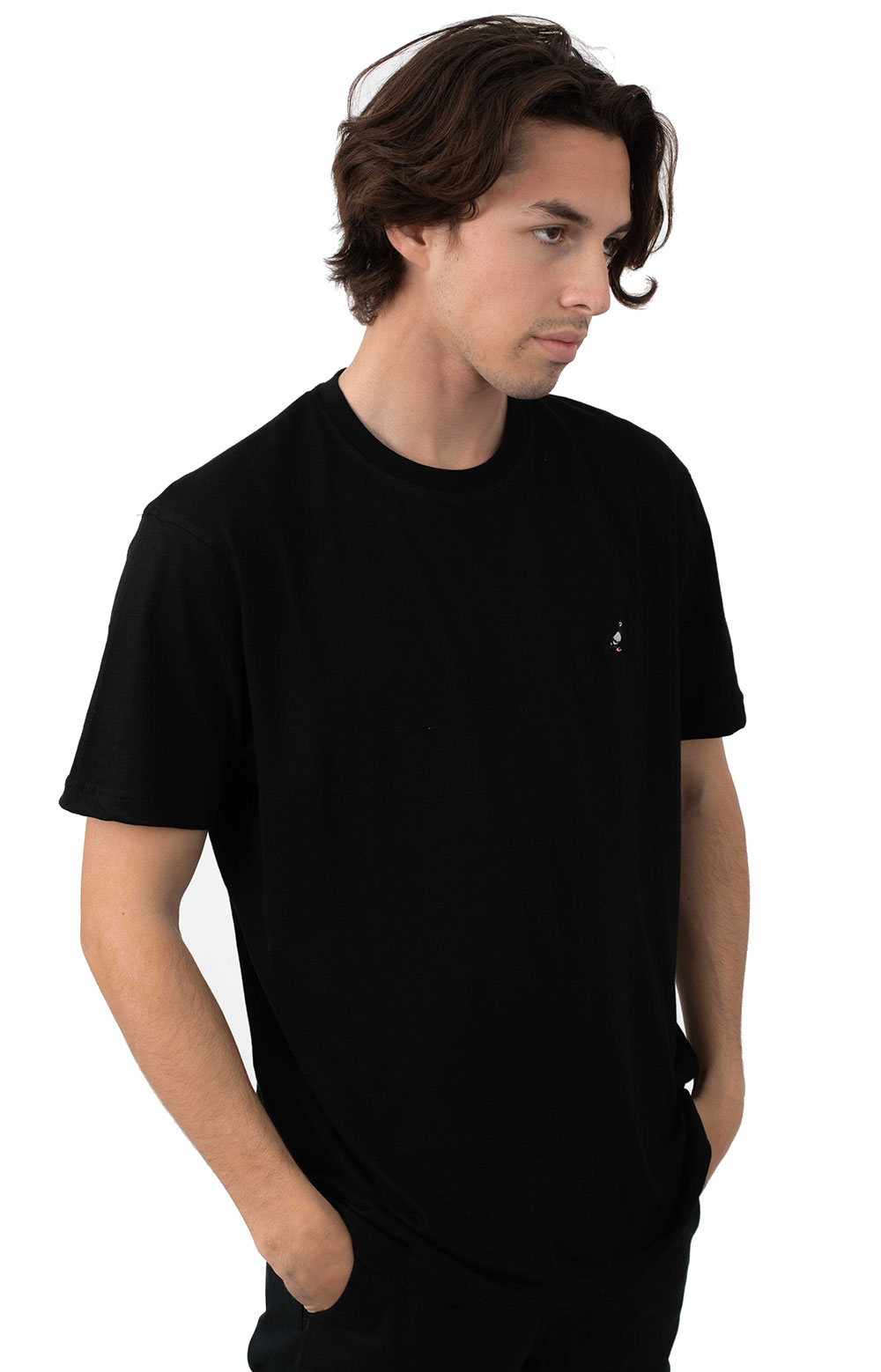 Pigeon Embroidered T-Shirt - Black 2