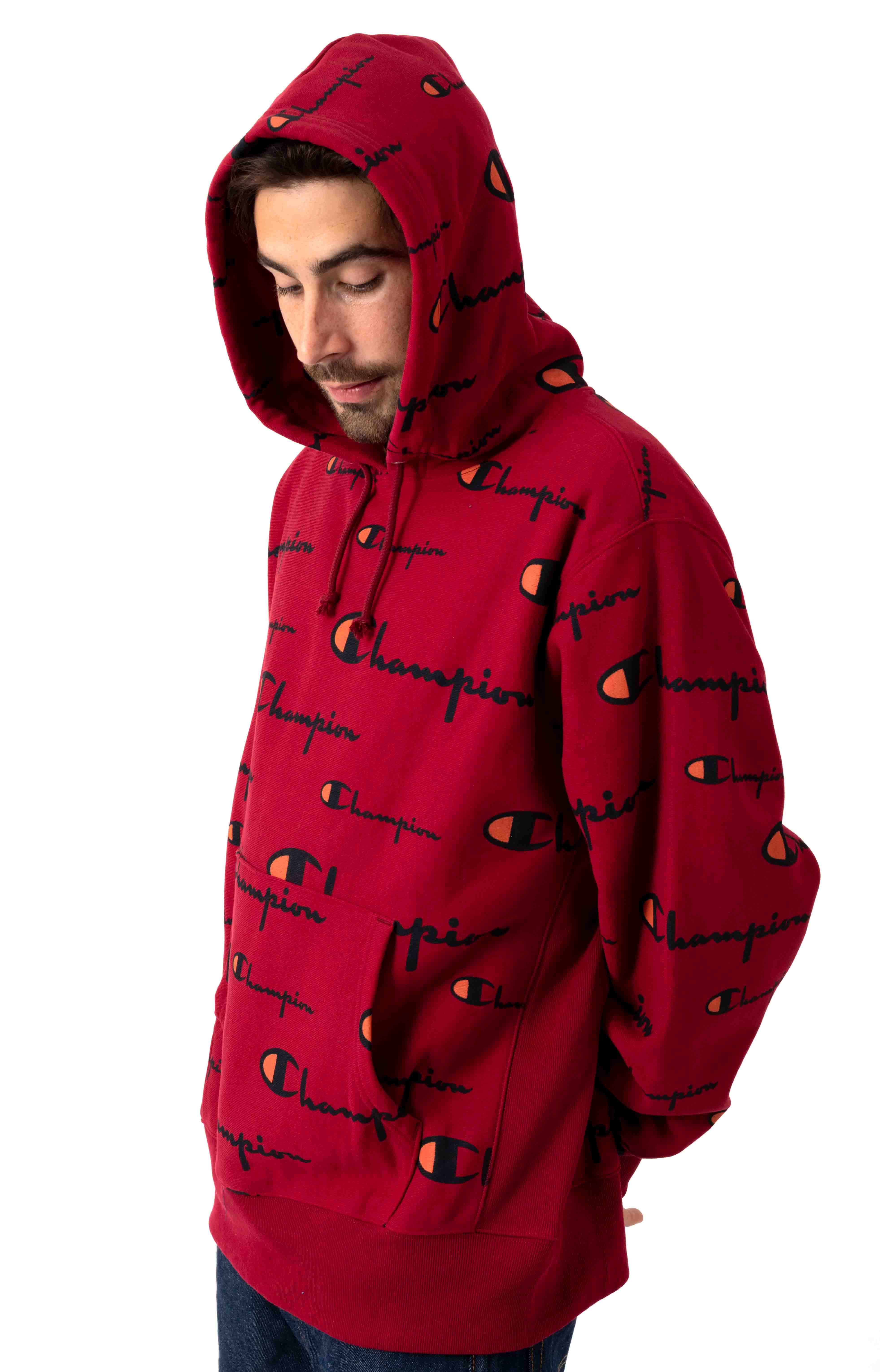 RW All Over Multi Scale Script Pullover Hoodie - Cherry Pie