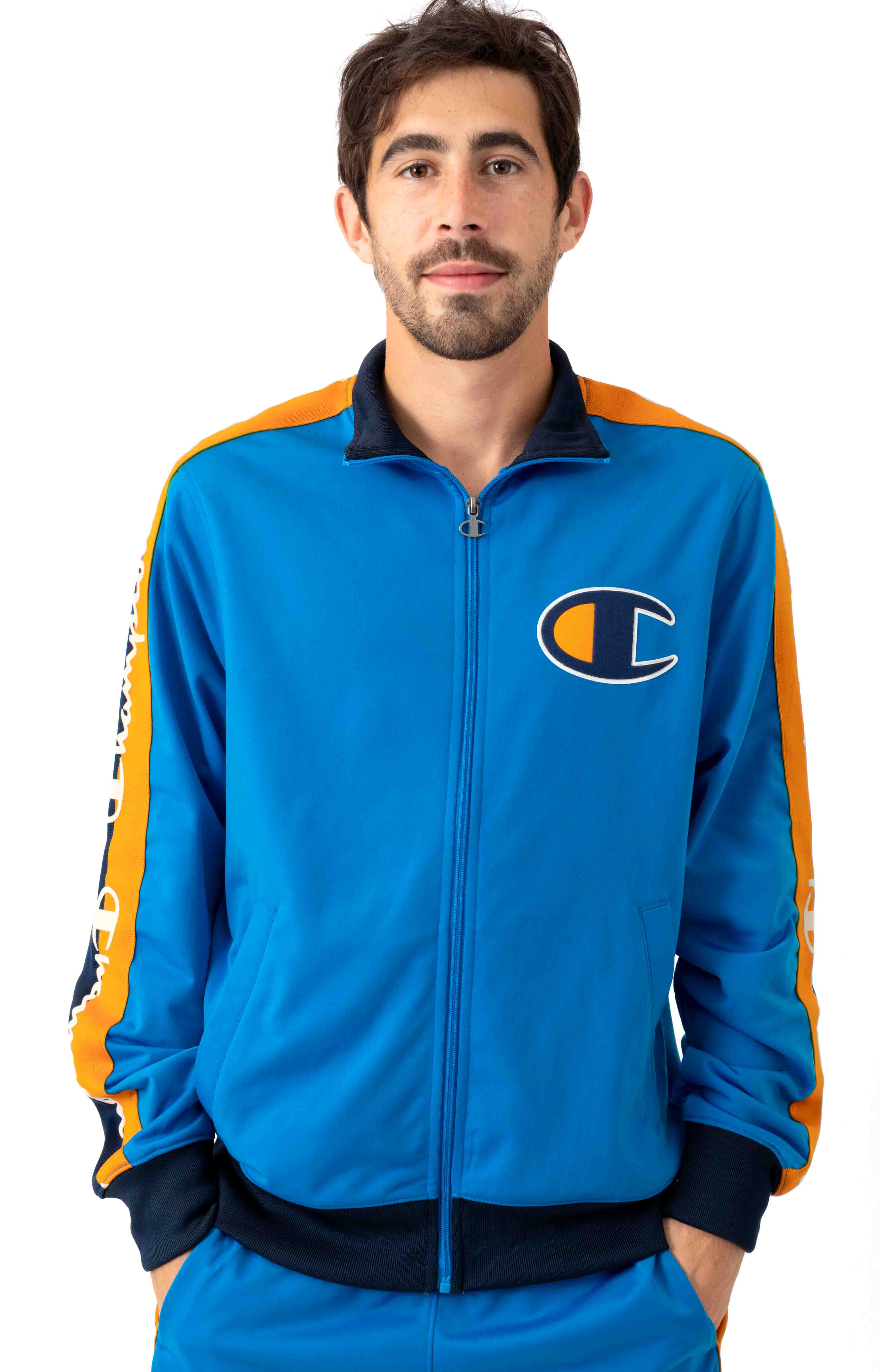 Tricot Track Jacket w/ Champion Taping - Running Waves/Navy