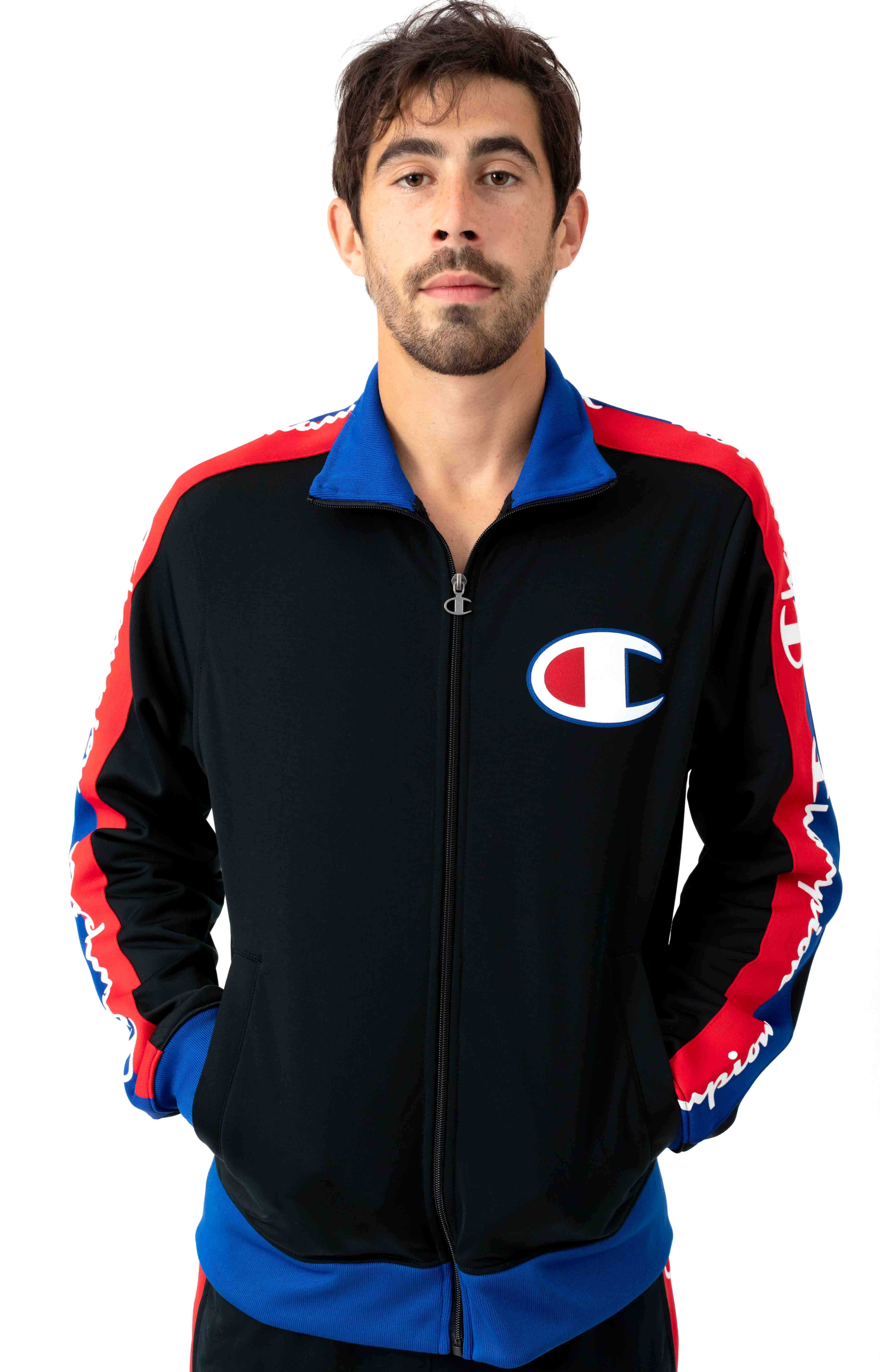 Tricot Track Jacket w/ Champion Taping - Black/Surf The Web