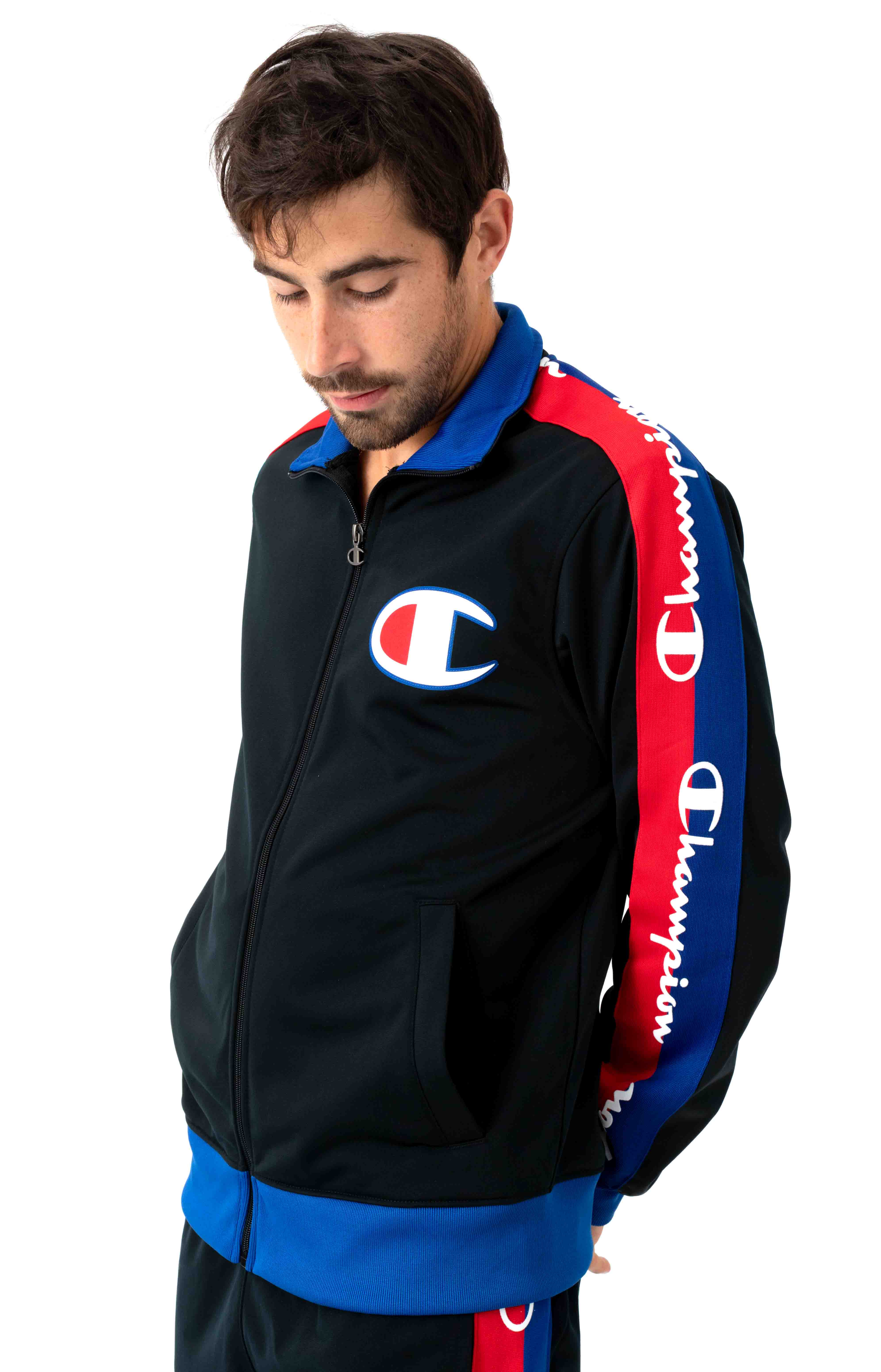 Tricot Track Jacket w/ Champion Taping - Black/Surf The Web 2