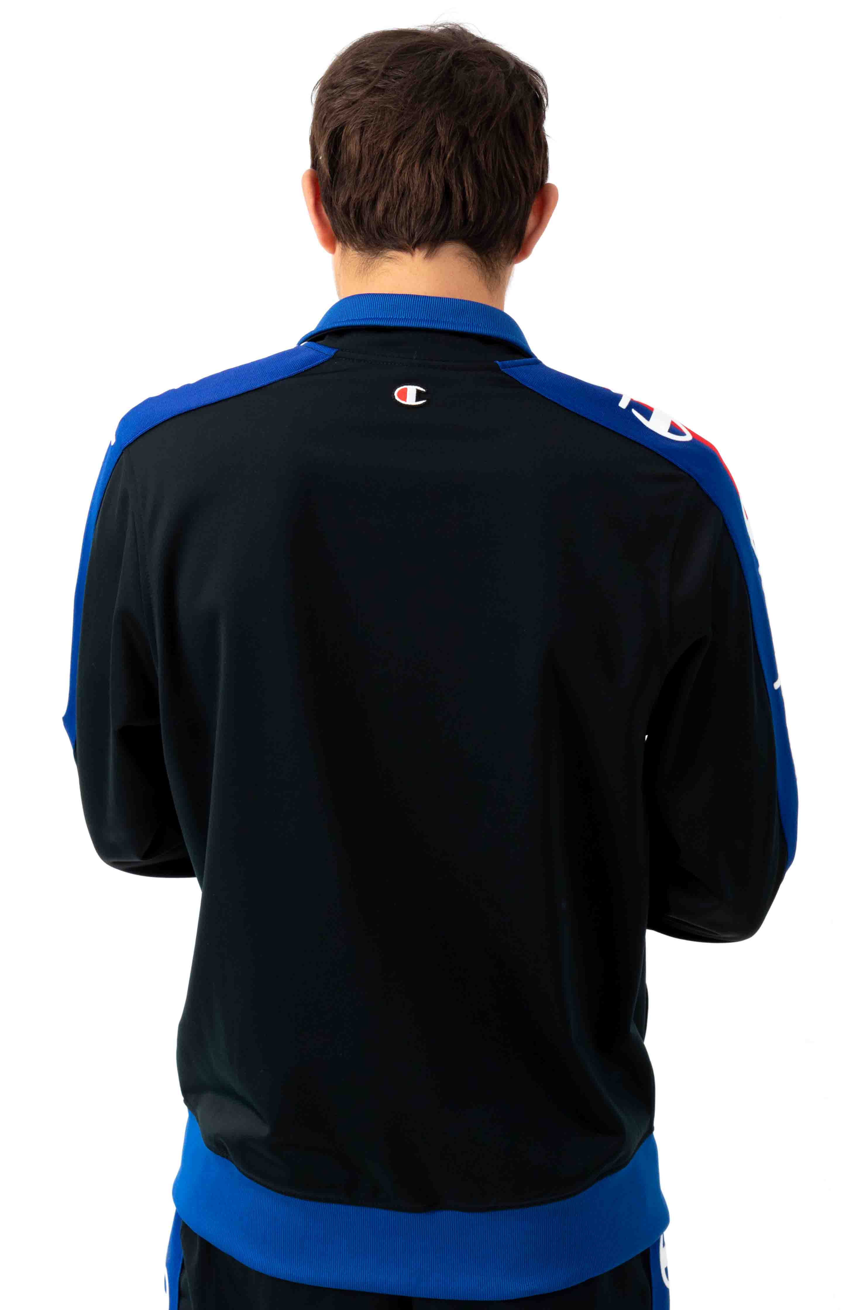 Tricot Track Jacket w/ Champion Taping - Black/Surf The Web 3