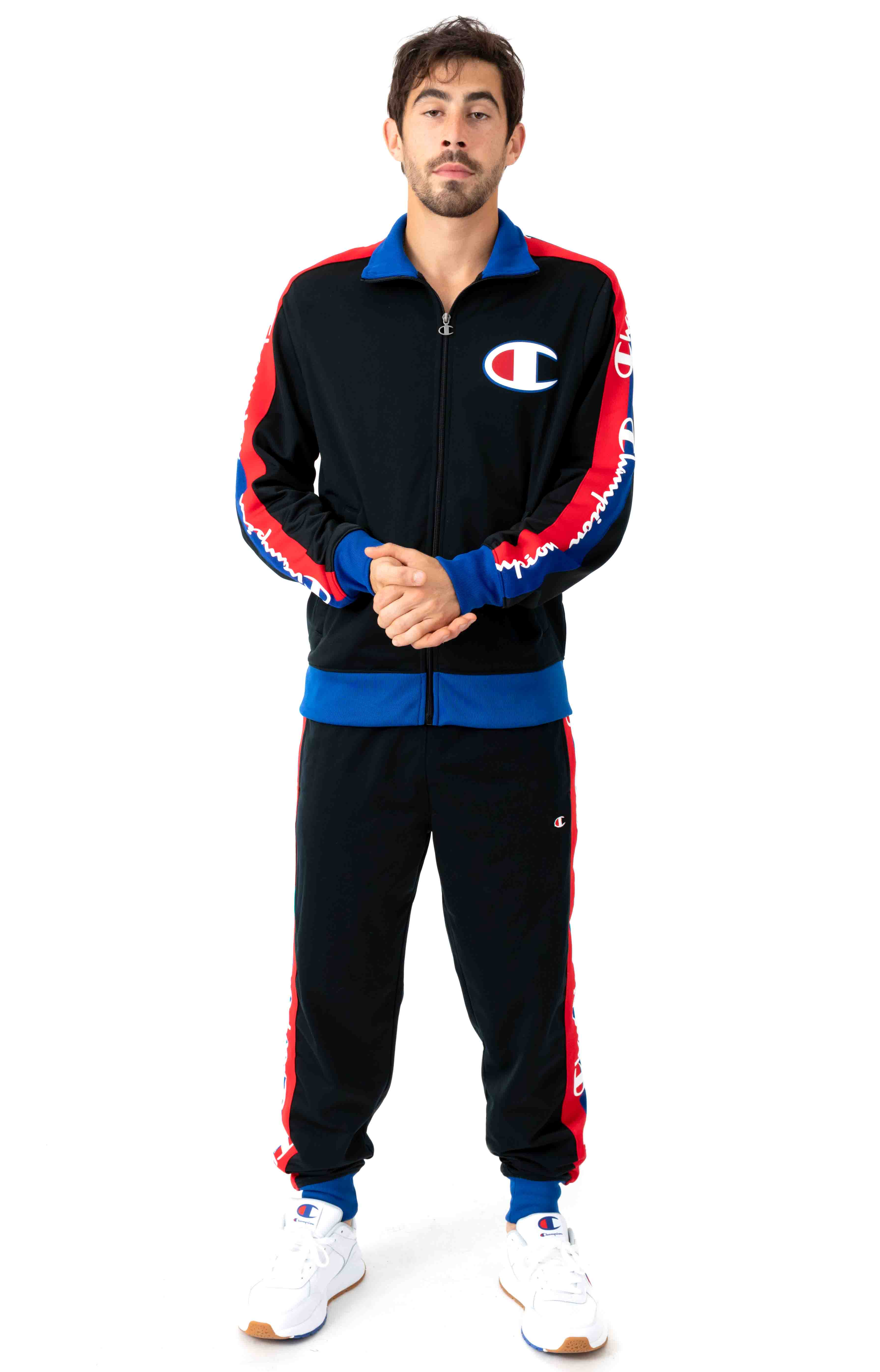 Tricot Track Jacket w/ Champion Taping - Black/Surf The Web 4