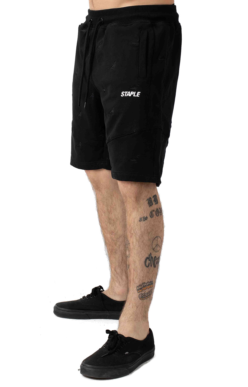 Allover Pigeon Poly Shorts - Black